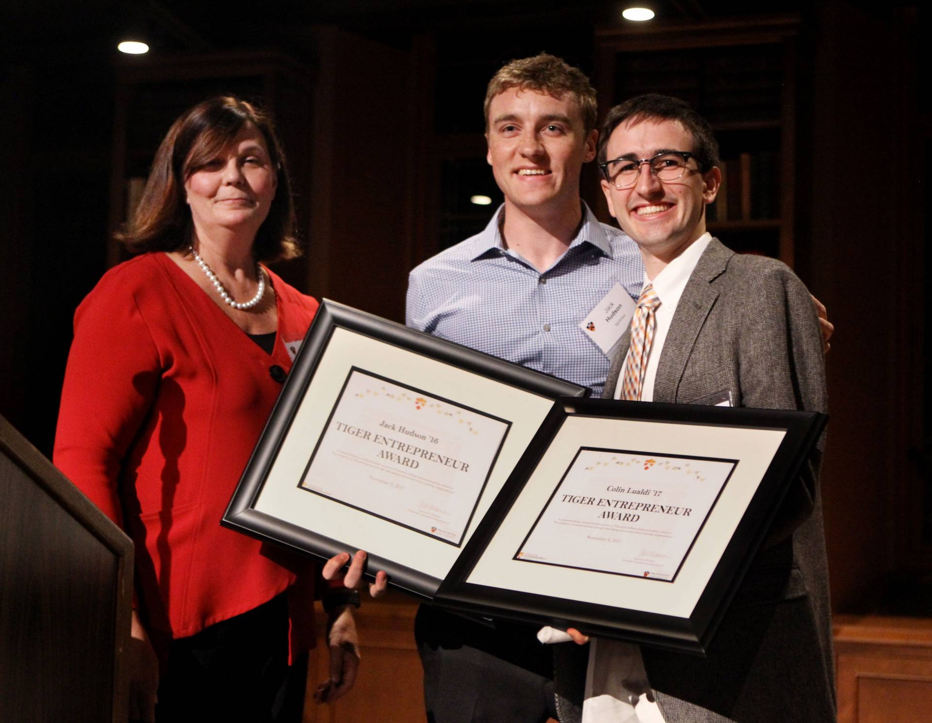 Anne-Marie Maman with princeton student award winners Jack Hudson and Colin Lualdi