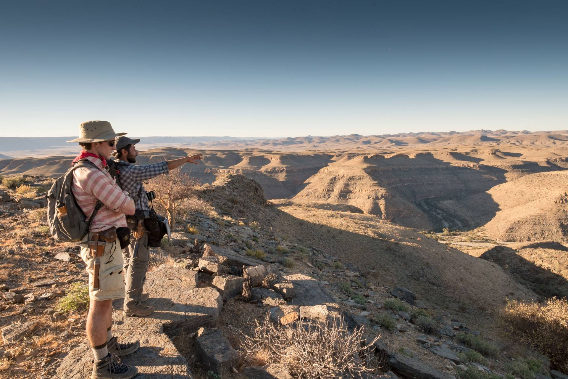 Graduate Students overlooking Zebra River Farm, Namibia