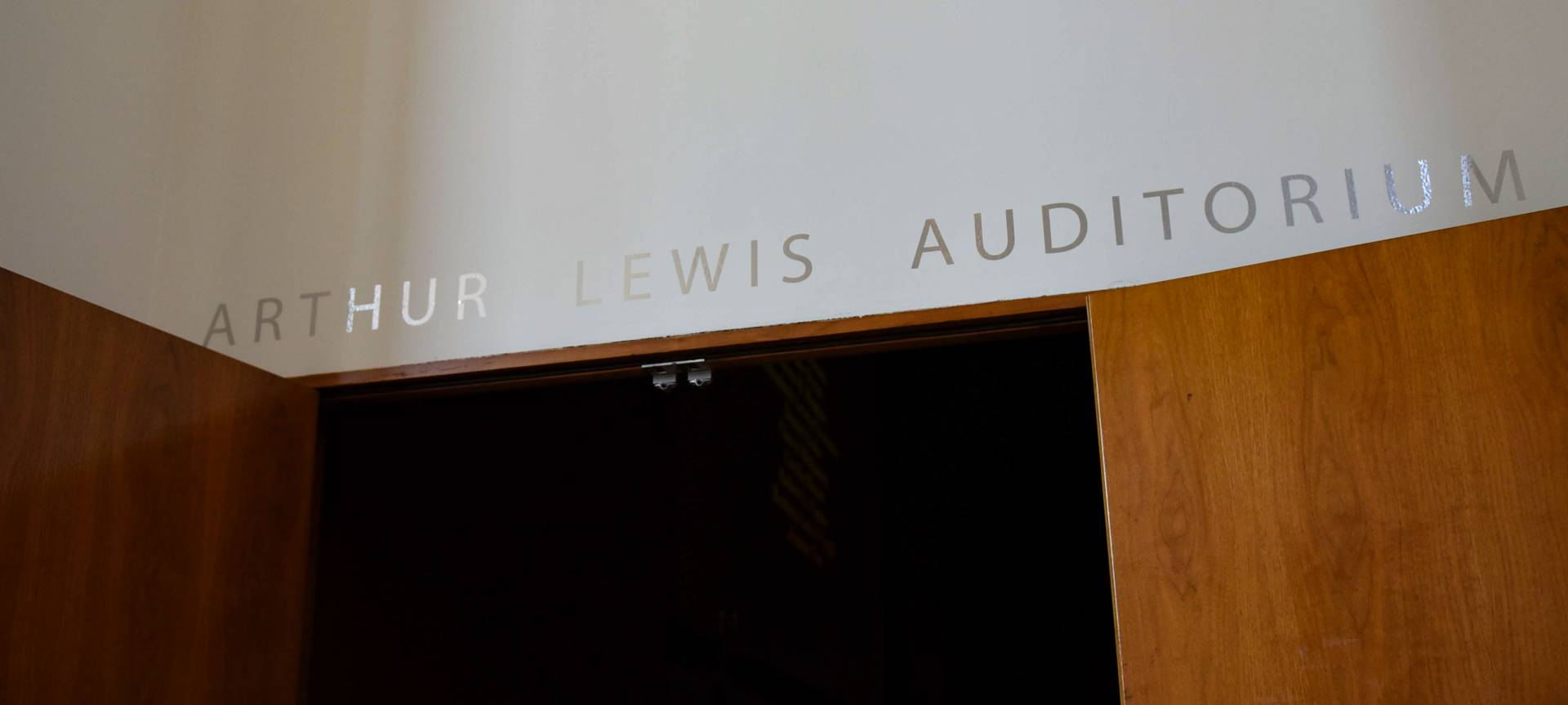 Arthur Lewis Auditorium sign