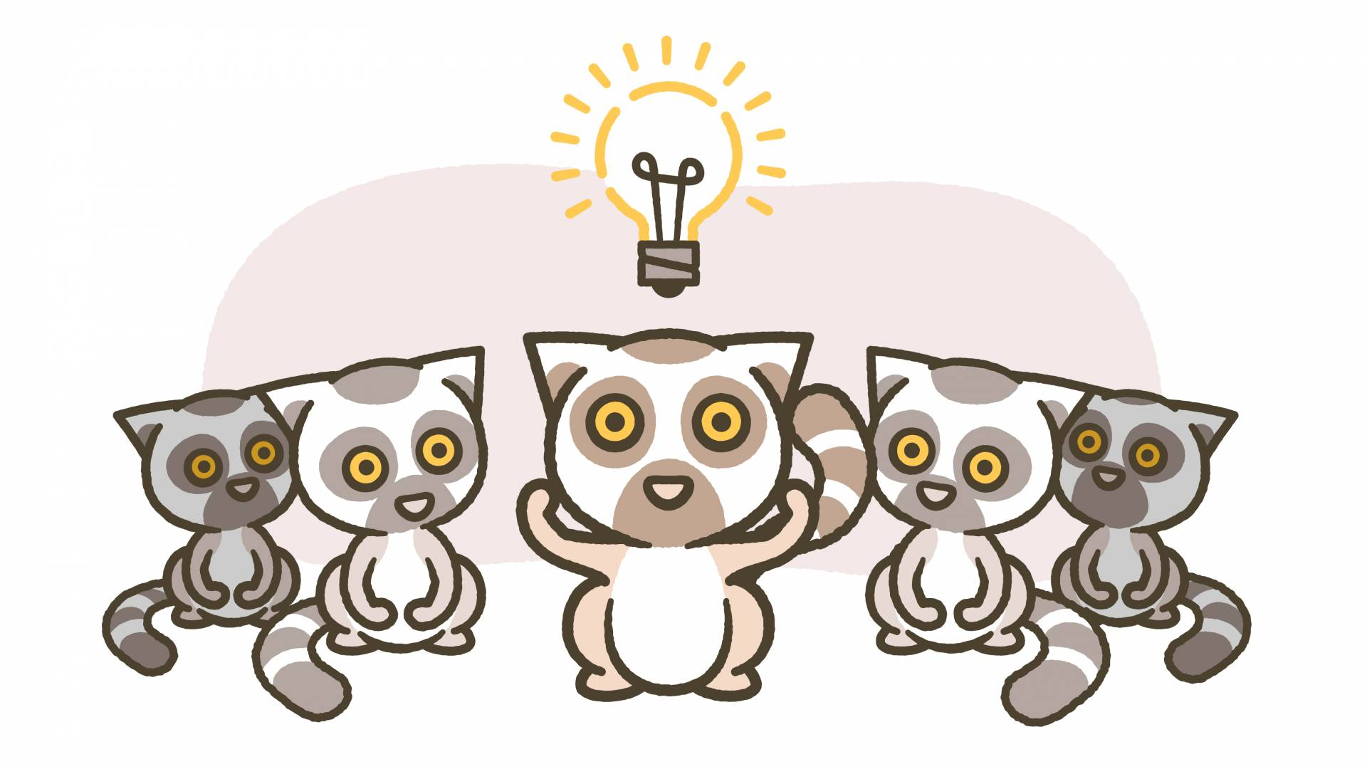 One lemur with a lightbulb over its head while other lemurs look on