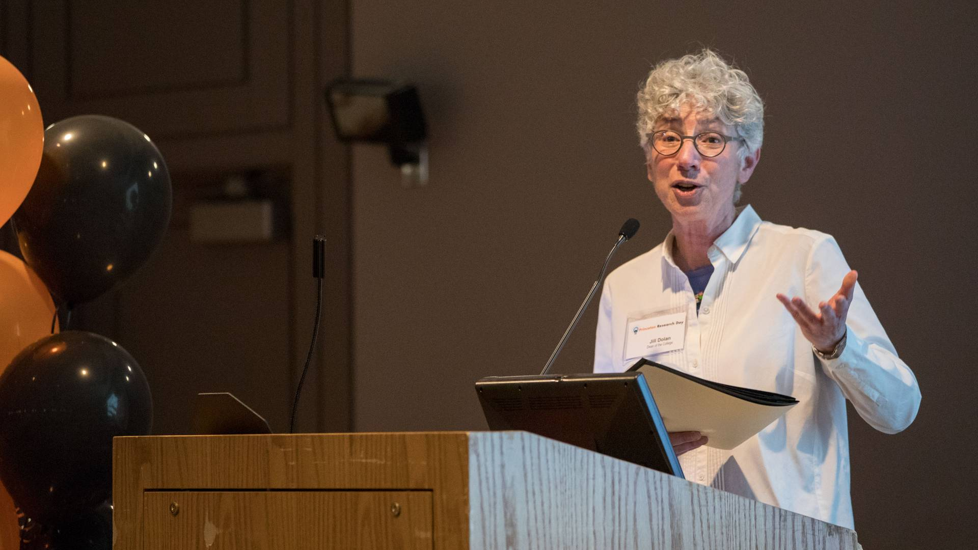 Jill Dolan speaking at Princeton Research Day