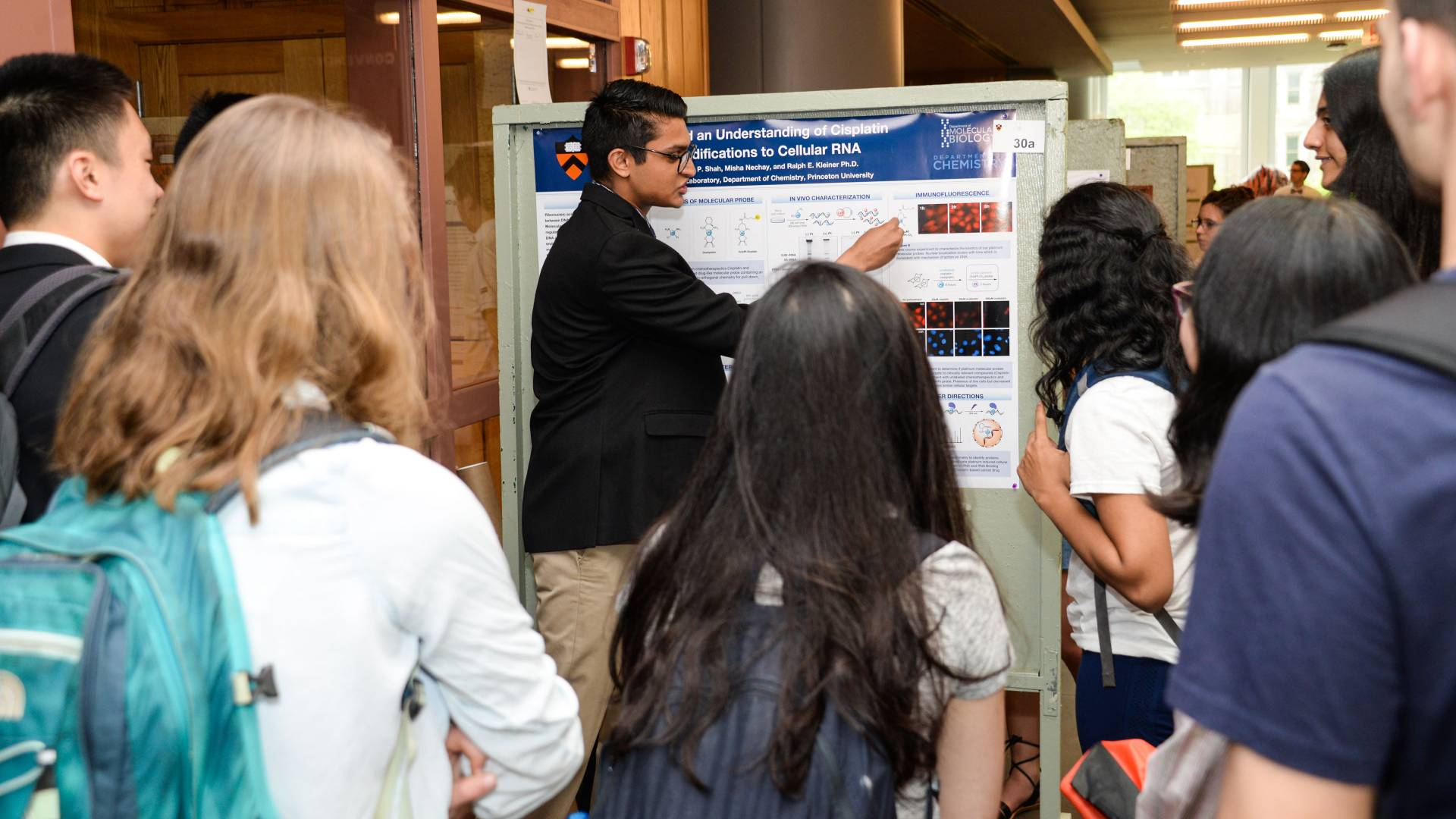 Rohan Shah presenting his poster at Princeton Research Day