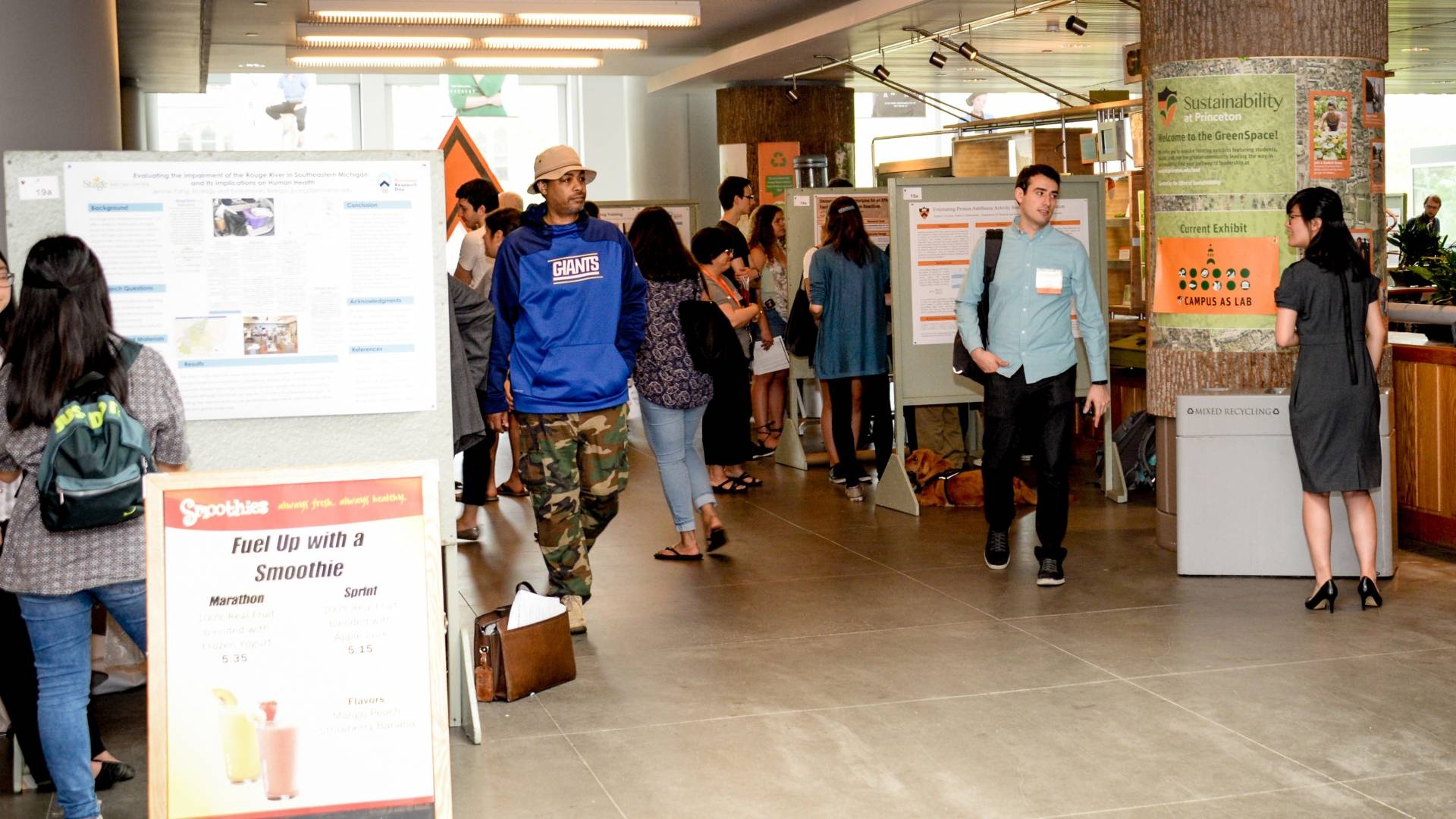 Undergraduates, graduate students and other researchers in the main atrium of Frist Campus Center