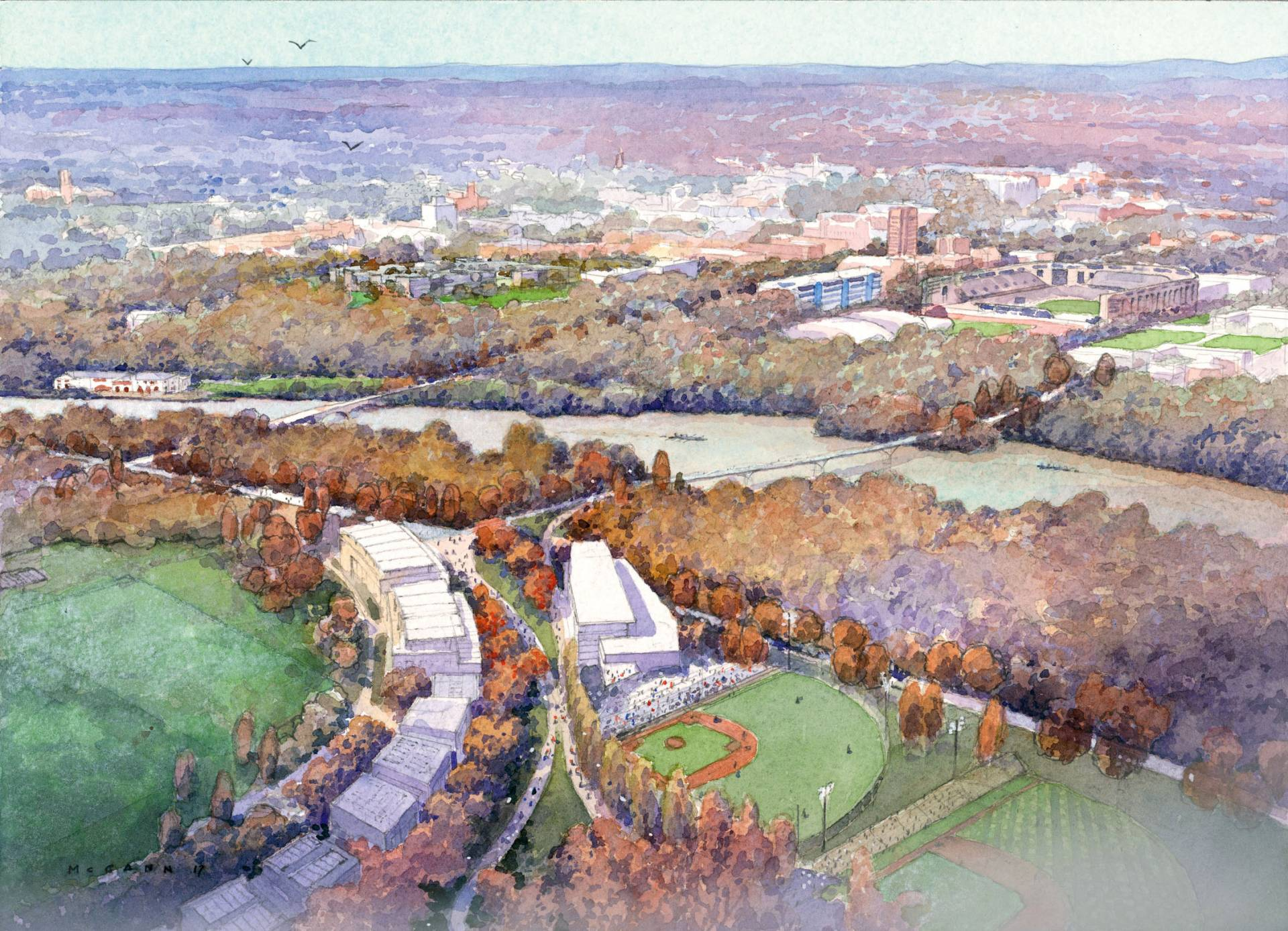 Watercolor of aerial view of land south of Lake Carnegie
