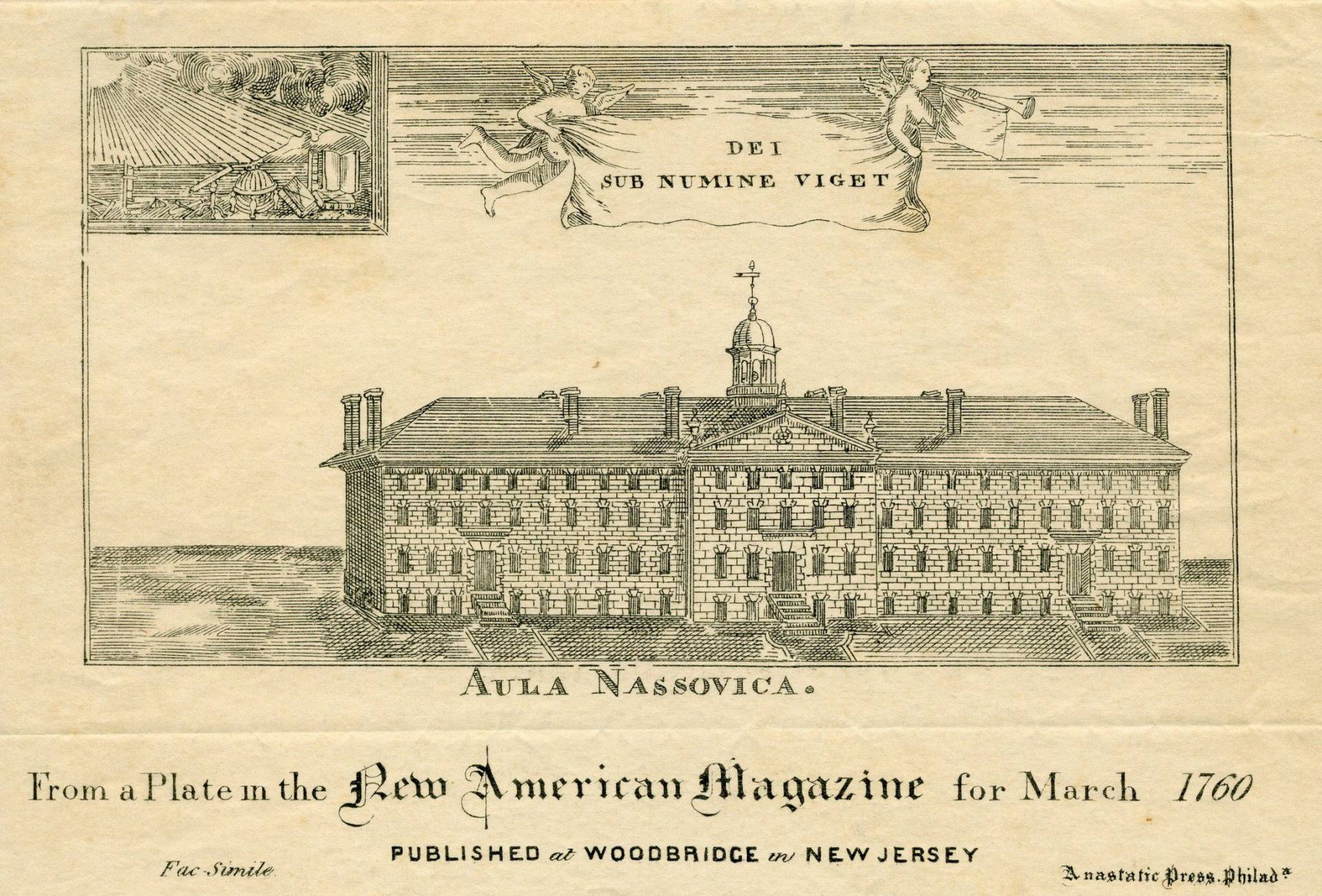 Old illustration of Nassau Hall from 1760