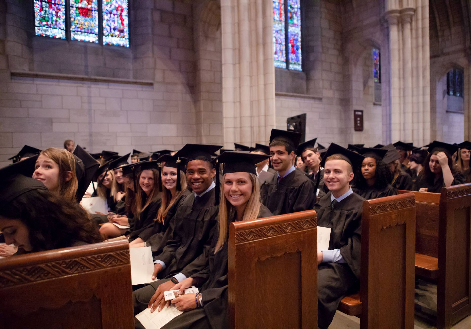 Students in chapel during Baccalaureate ceremony