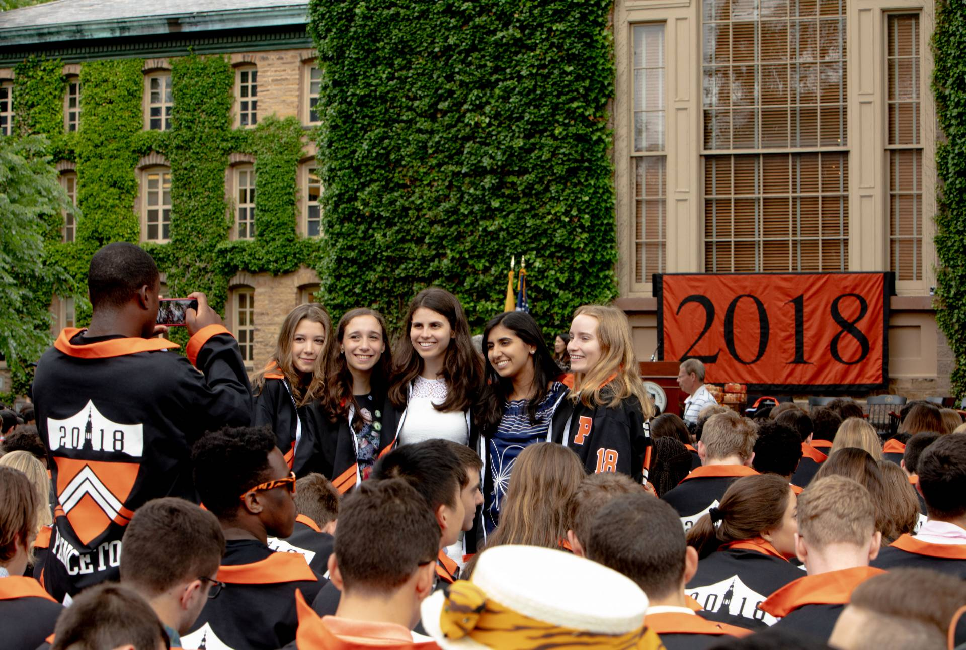 Students posing for camera at Class Day