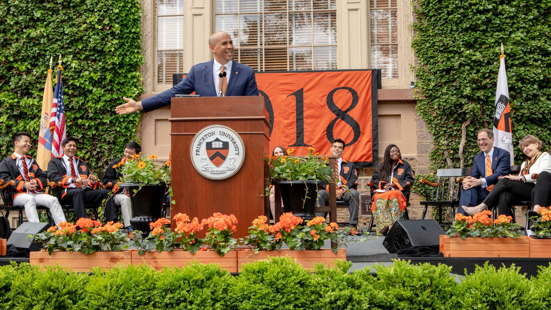 Senator Cory Booker giving speech during Class Day ceremony
