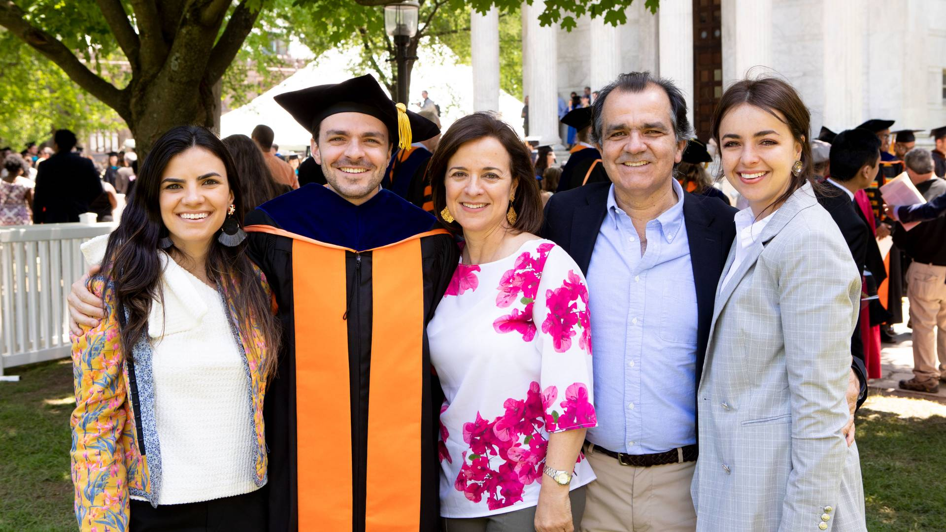David Zuluaga Martinez with his family after the Commencement ceremony