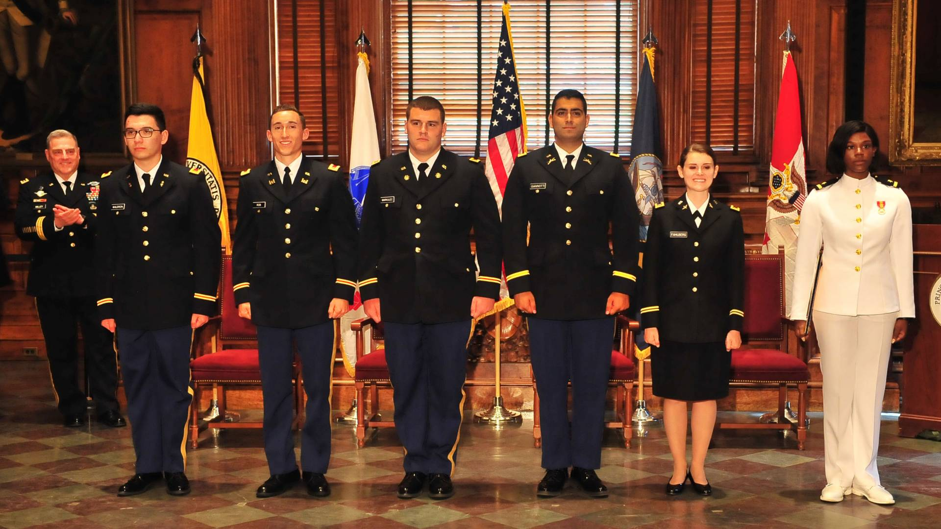 Theodore Waldron, Samuel Rob, Michael Markulec, Matthew Giannotti and Natalie Fahlberg and Christina Onianwa at ROTC Commissioning ceremony