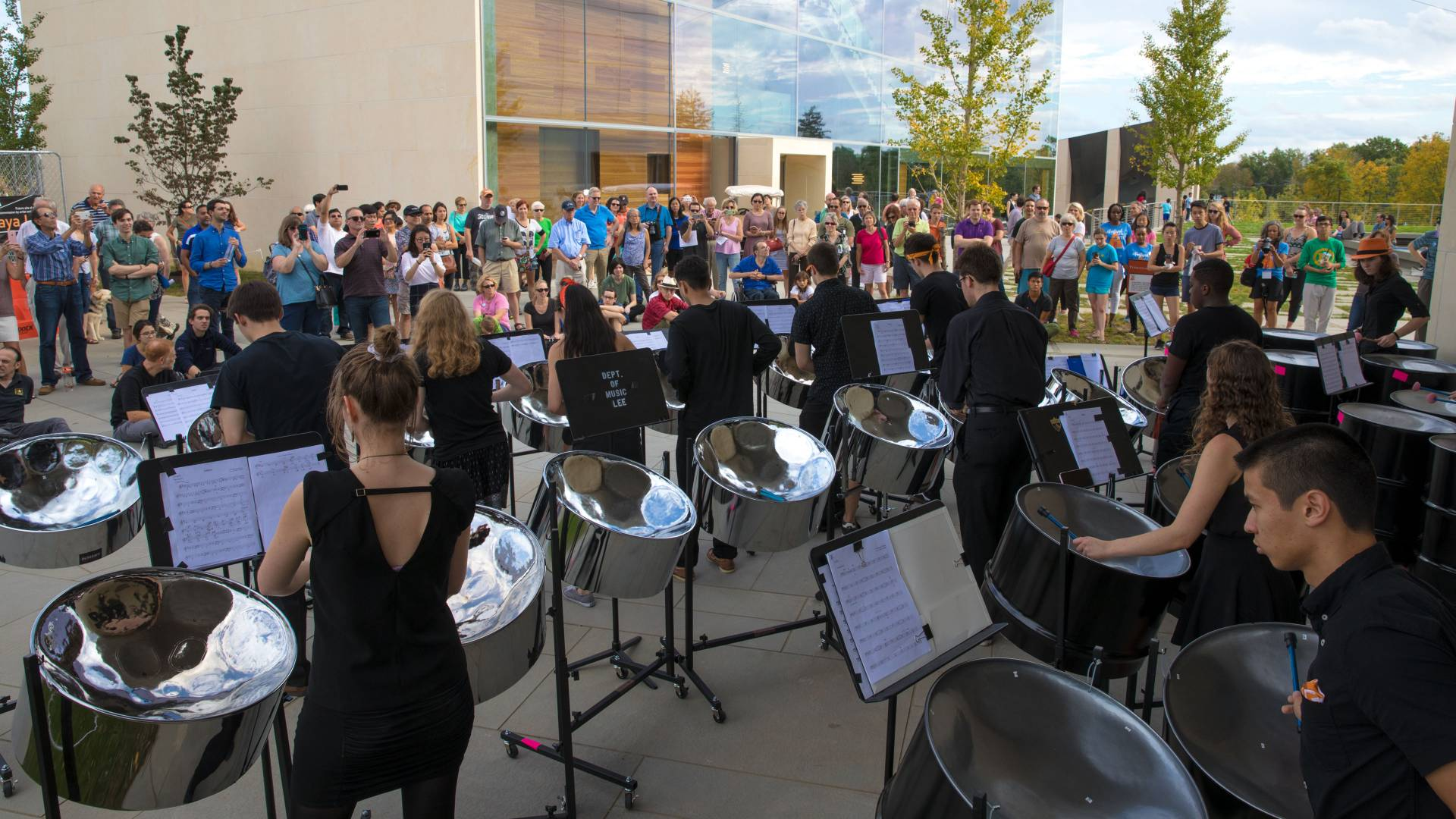 Princeton steel band performing outside at Lewis Arts complex