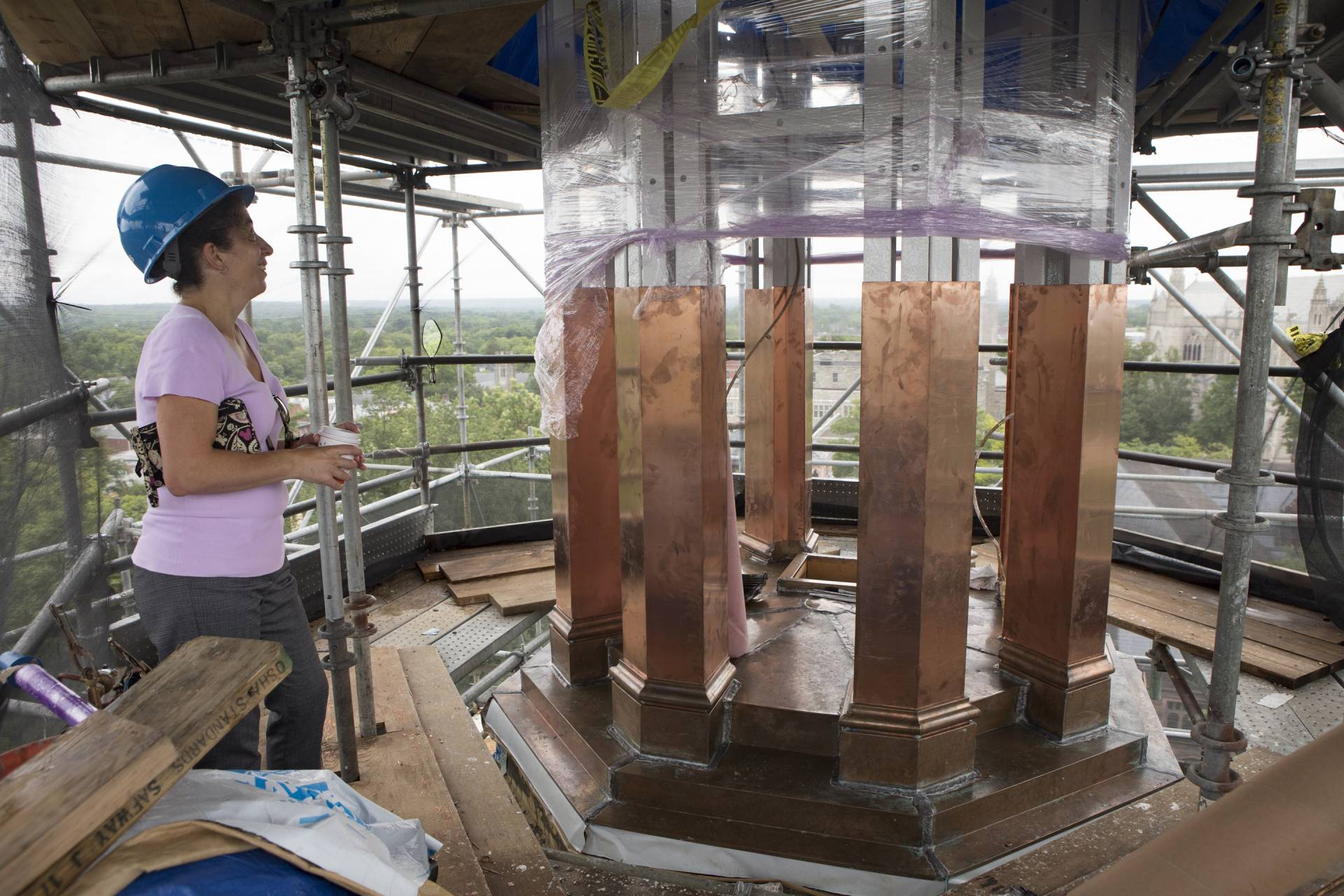 Alexis Mutschler working on the Cupola Restoration Project, atop Nassau Hall