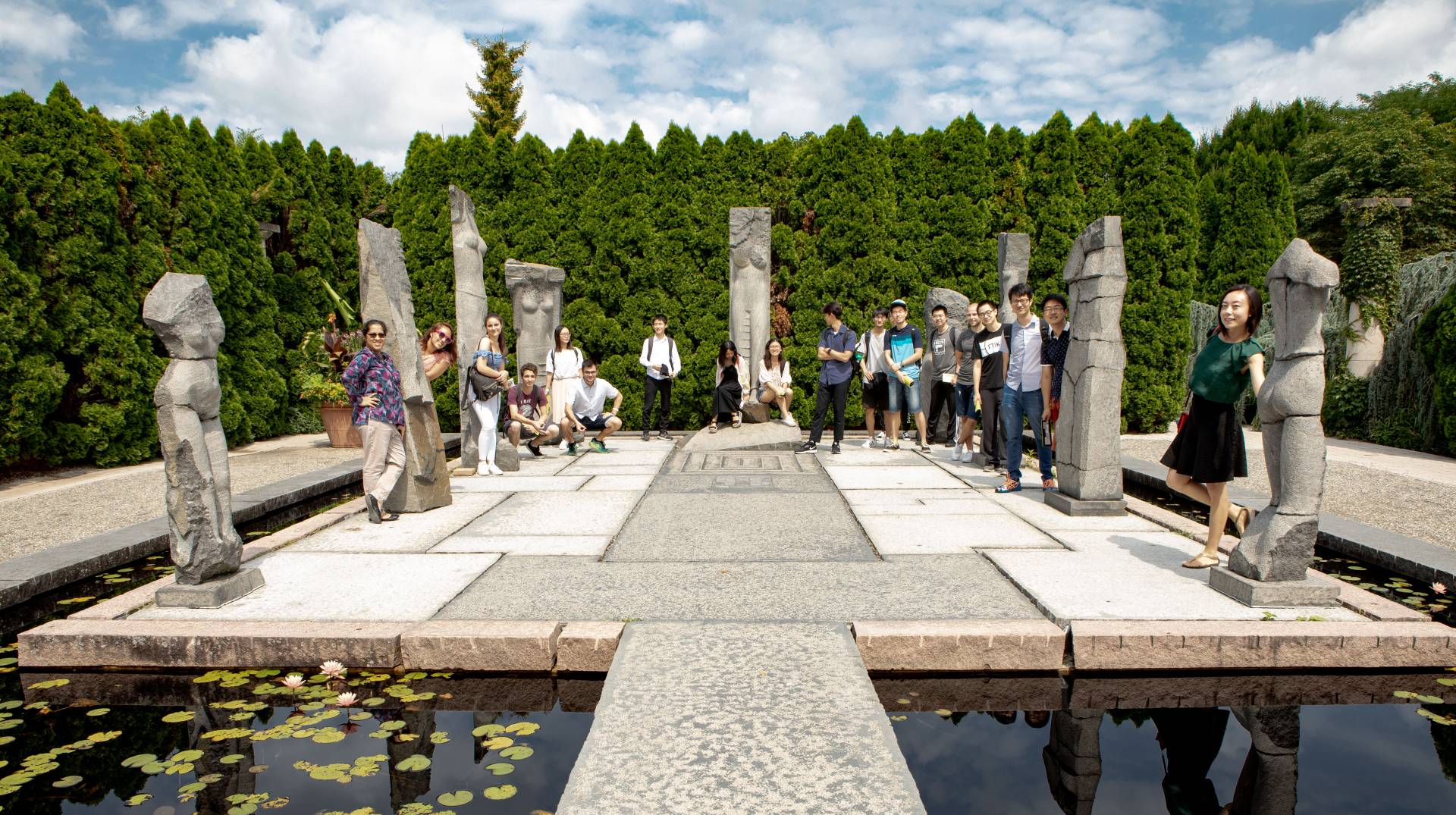 International students visiting Grounds For Sculpture