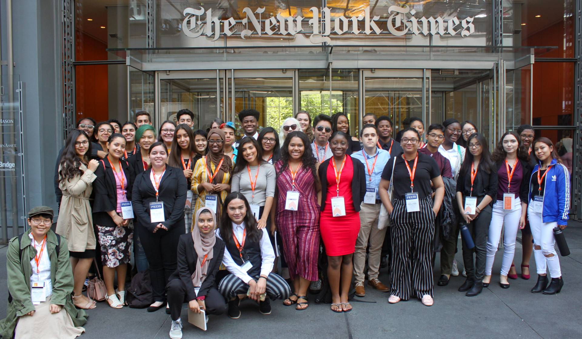 Summer Journalism Program students standing outside New York Times builiding