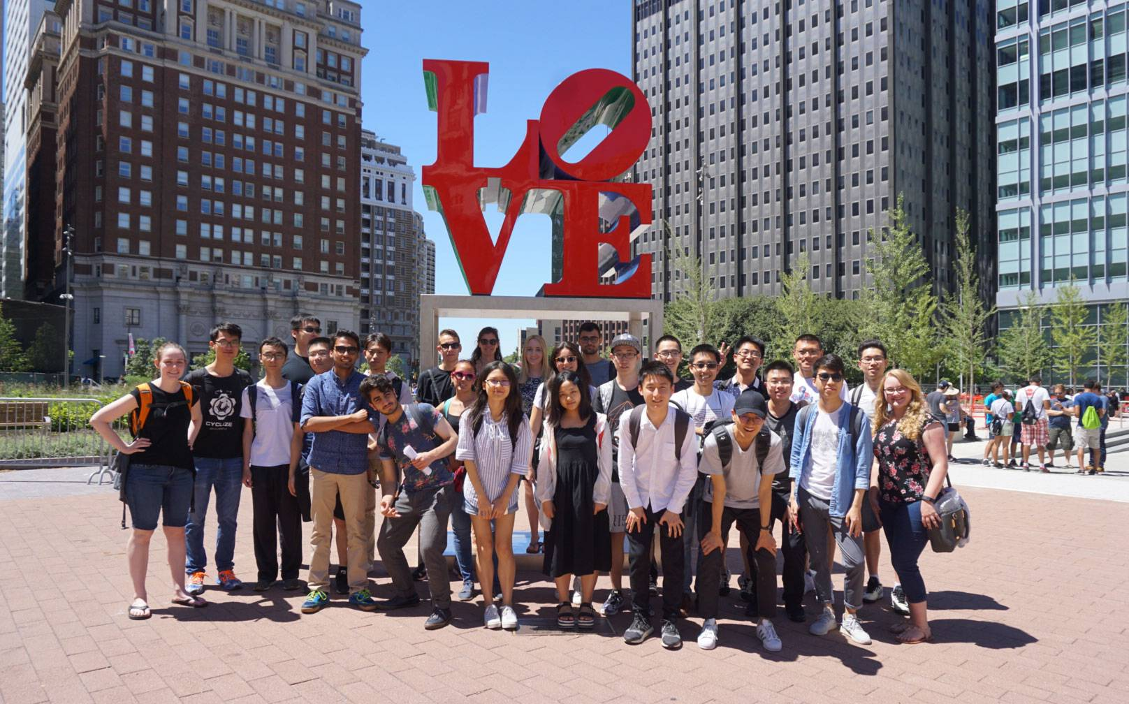 International students standing in front of LOVE statue in Philadelphia