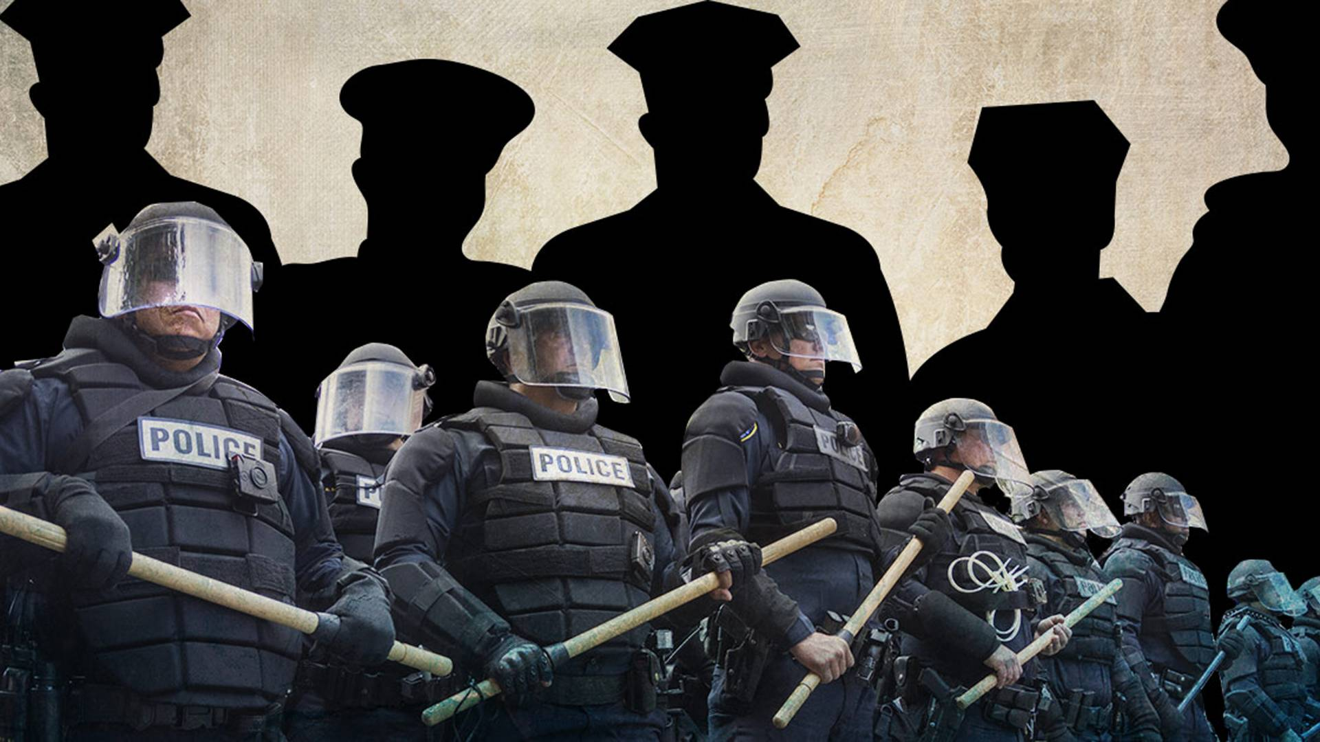 Riot police stand in front of silhouettes in police uniform