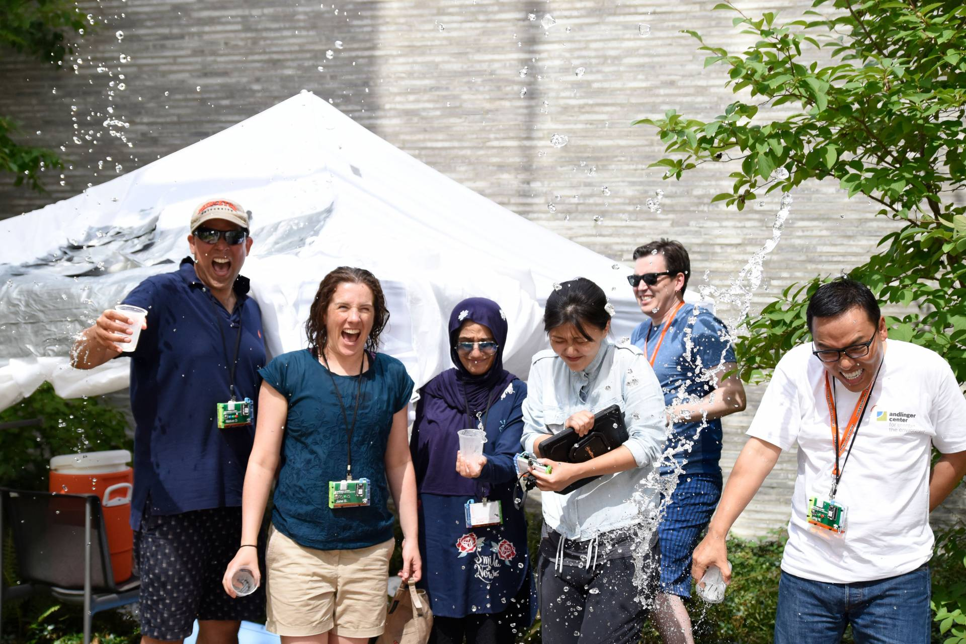 Andlinger Center Young Global Leaders pour water over themselves