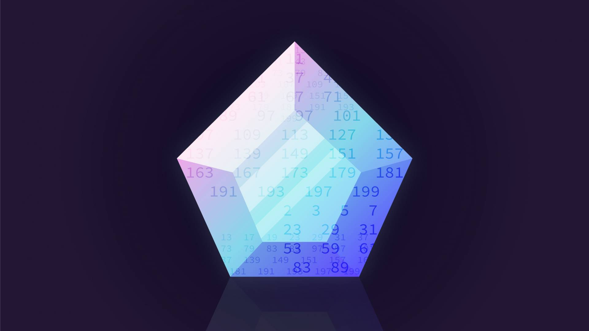 Illustration of a crystal overlaid with prime numbers