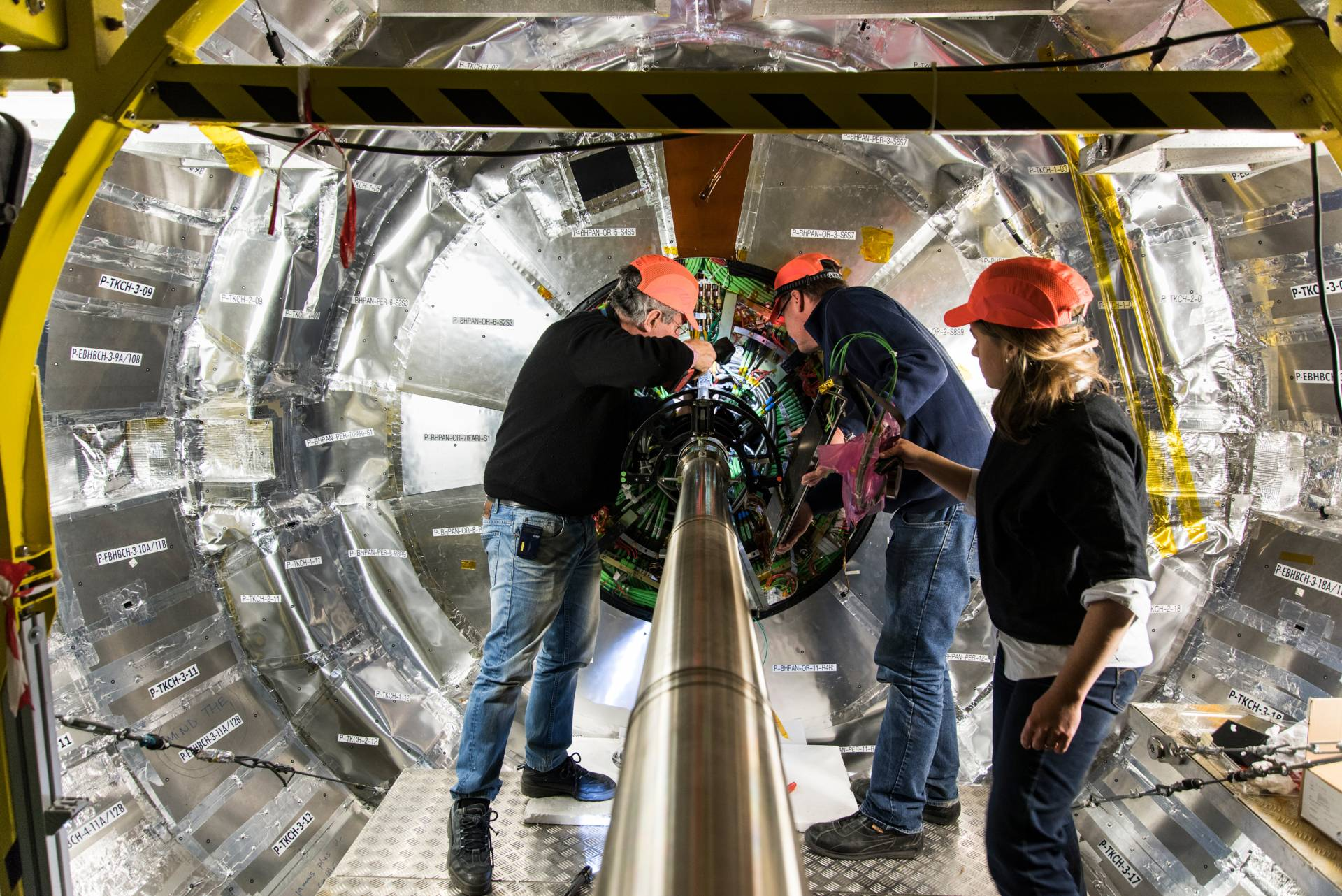 Princeton physicists and engineers work on the installation of the pixel luminosity telescope of the CMS experiment