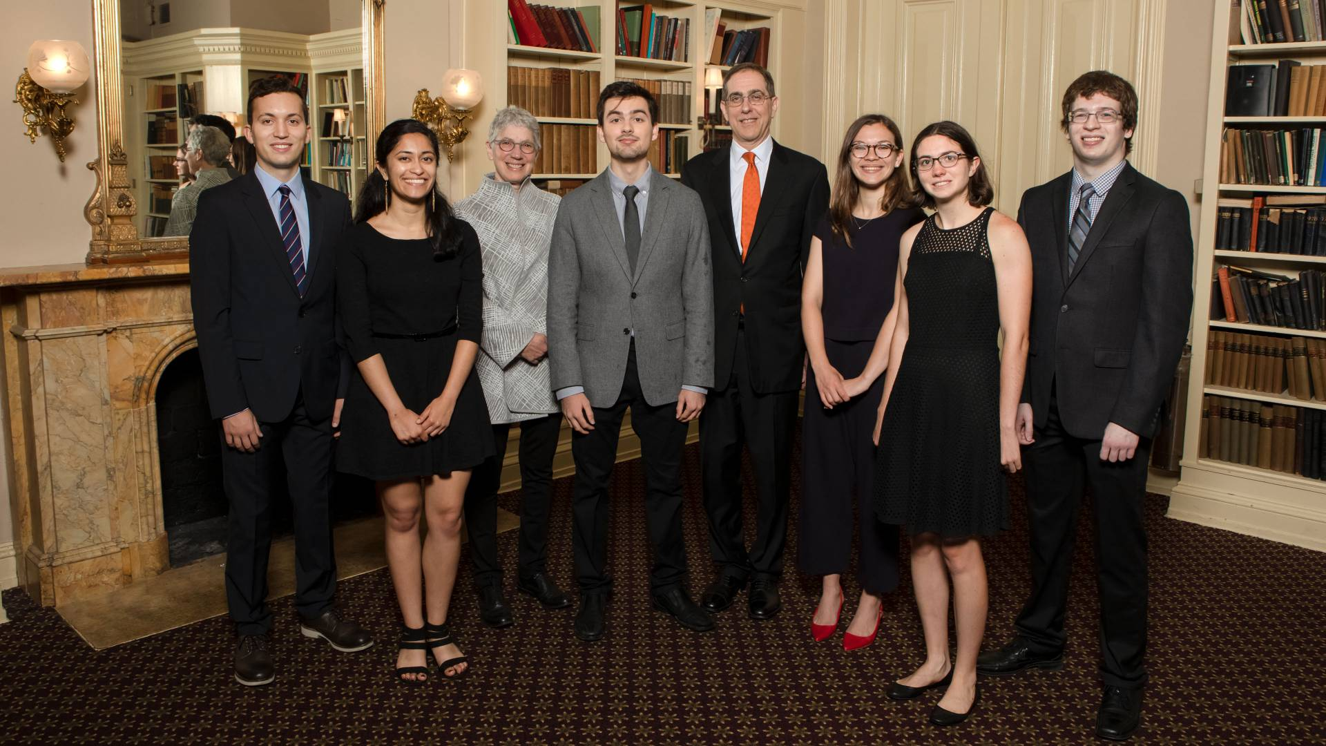 Markos Markakis, Trisha Datta, Dean of the College Jill Dolan, Devon Wood-Thomas, President Christopher L. Eisgruber,  Annabel Barry, Grace Sommers and Matthew Tyler