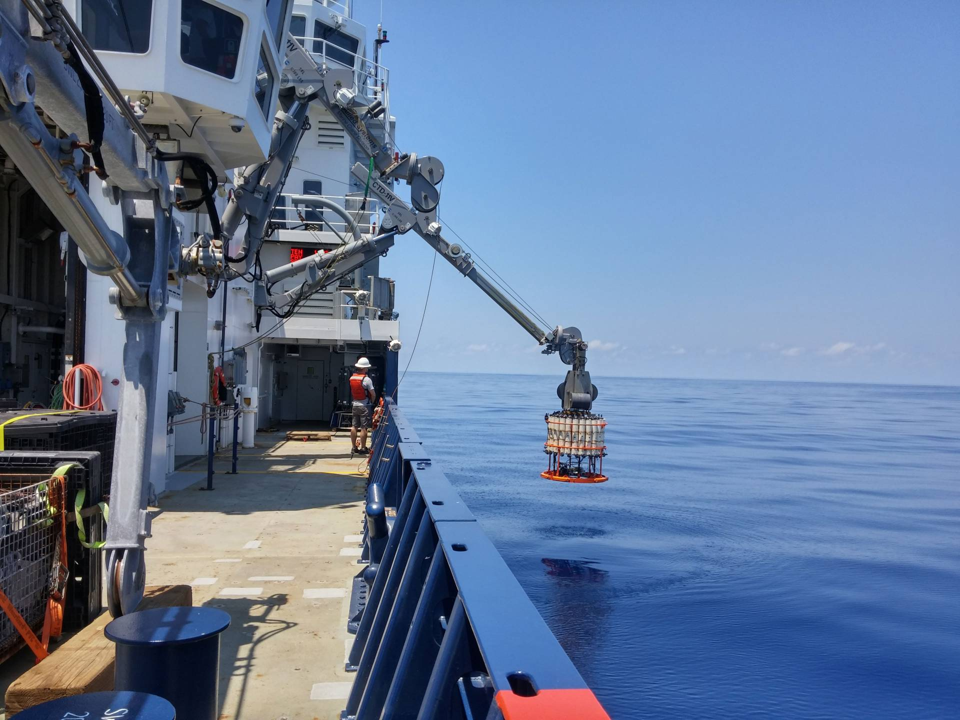 Ship raising sampling instrument from waters off western coast of Mexico