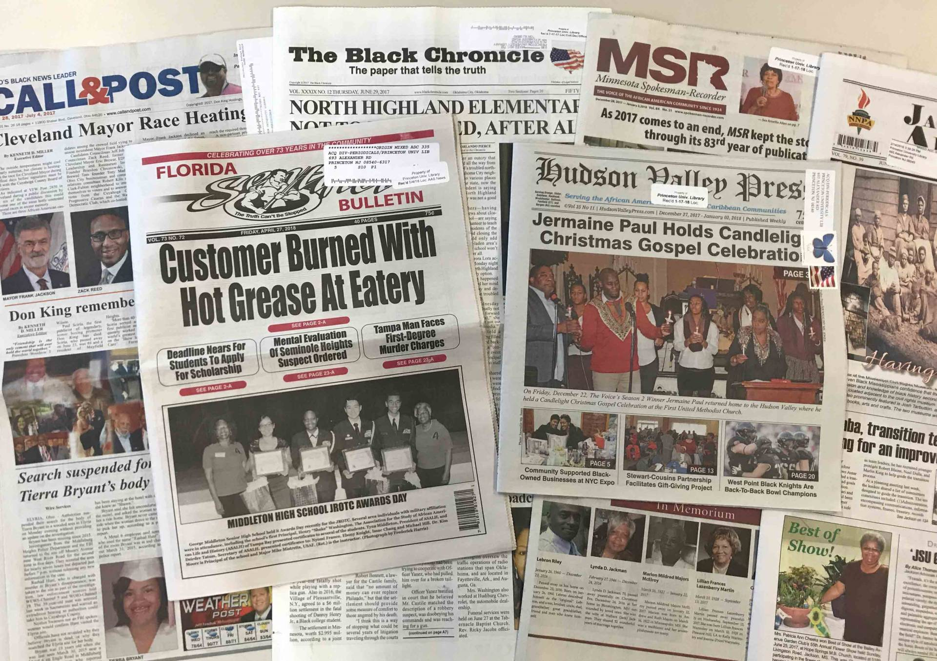 Samples of newspapers published for African American audiences