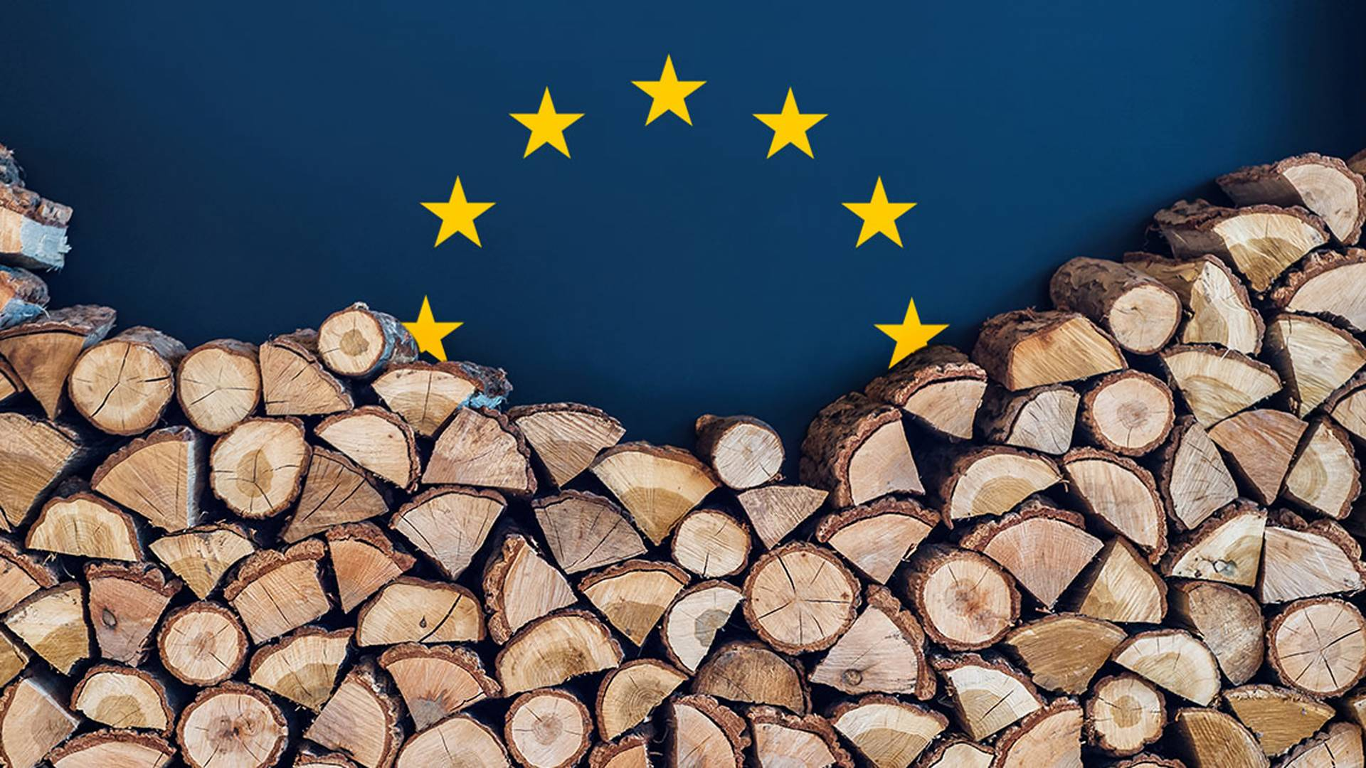 Chopped wood in a pile in front of the flag of Europe
