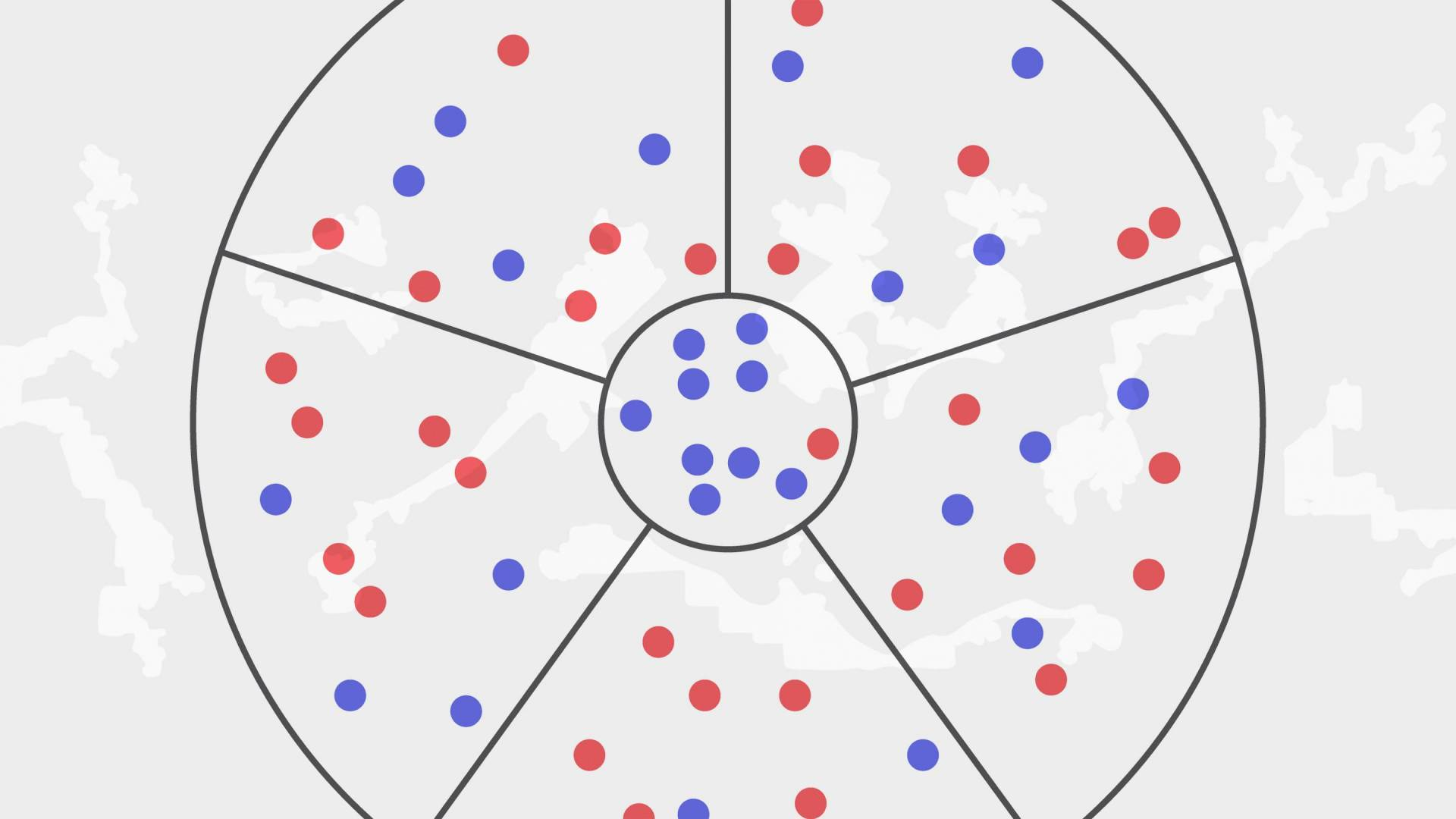 Graphic of red and blue dots being divided by lines