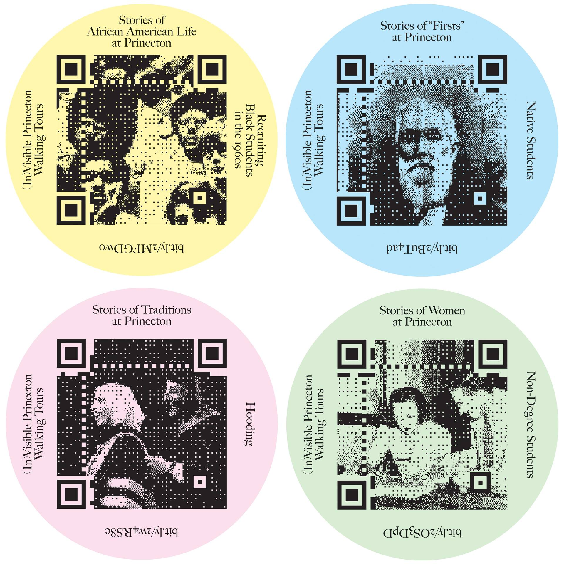 "Example of stickers with QR codes that mark tour stops: Stories of African American Life at Princeton; Stories of ""Firsts"" at Princeton; Stories of Traditions at Princeton; and Stories of Women at Princeton."
