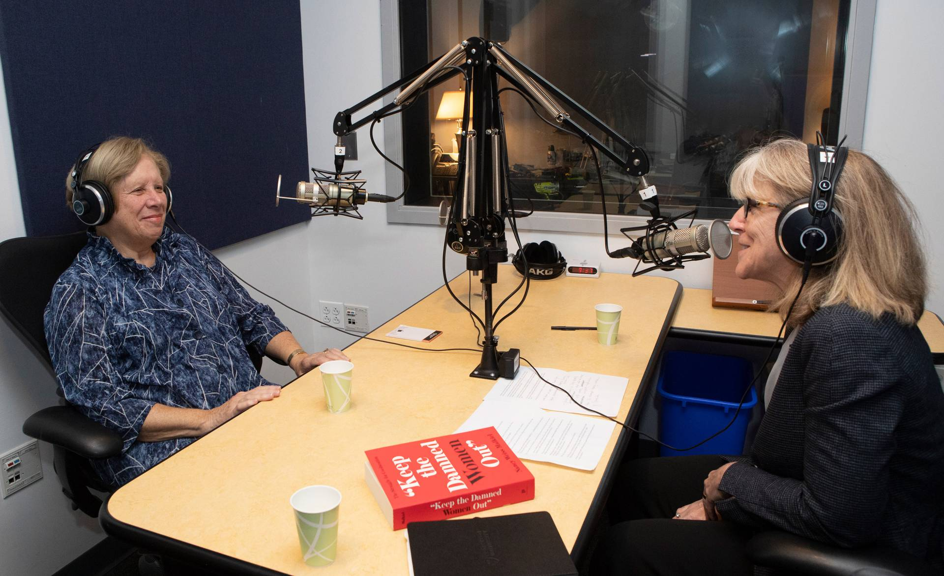 Nancy Malkiel in the studio with Margaret Koval