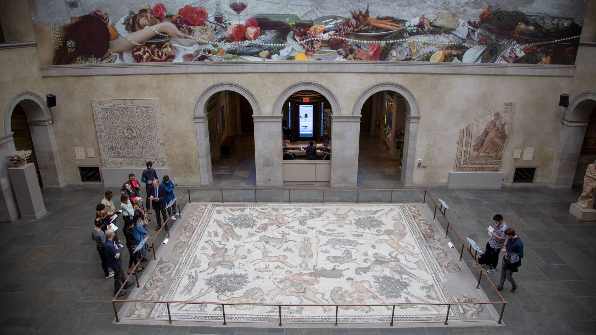 Aerial view of large mosaic and wall painting at Worcester Art Museum