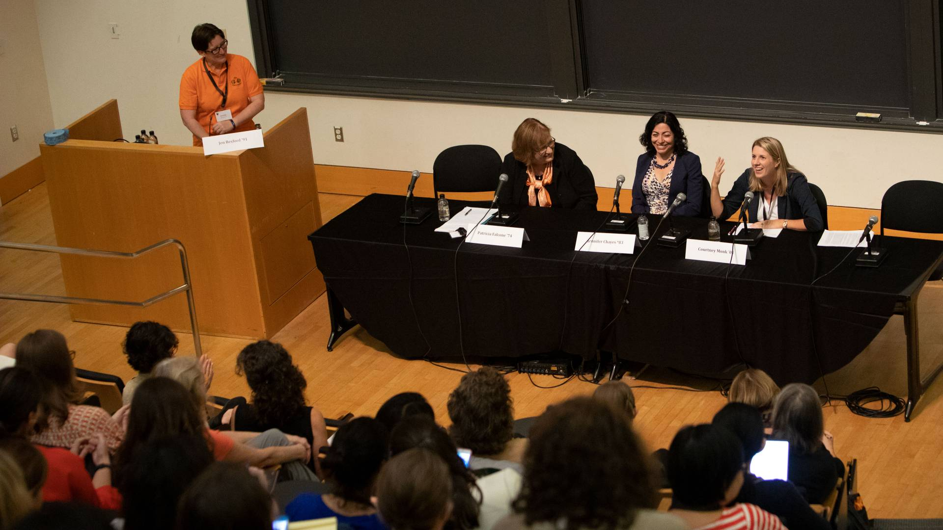 Jennifer Rexford '91 at podium; at table left to right:  Patricia Falcone '74, Jennifer Chayes *83, Courtney Monk '01