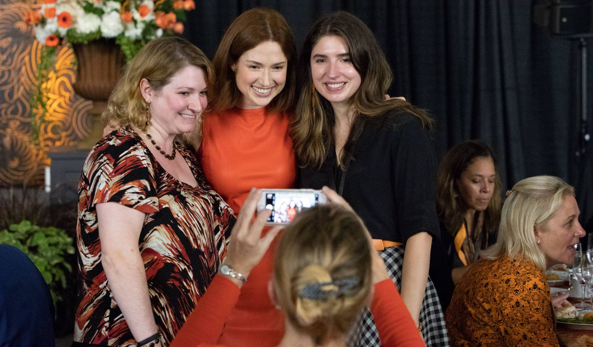 Elizabeth Greenberg , Ellie Kemper, Juliet Hernandez posing for photo