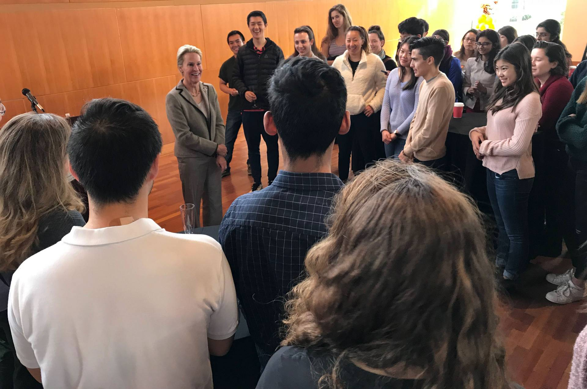Frances Arnold speaking to engineering students