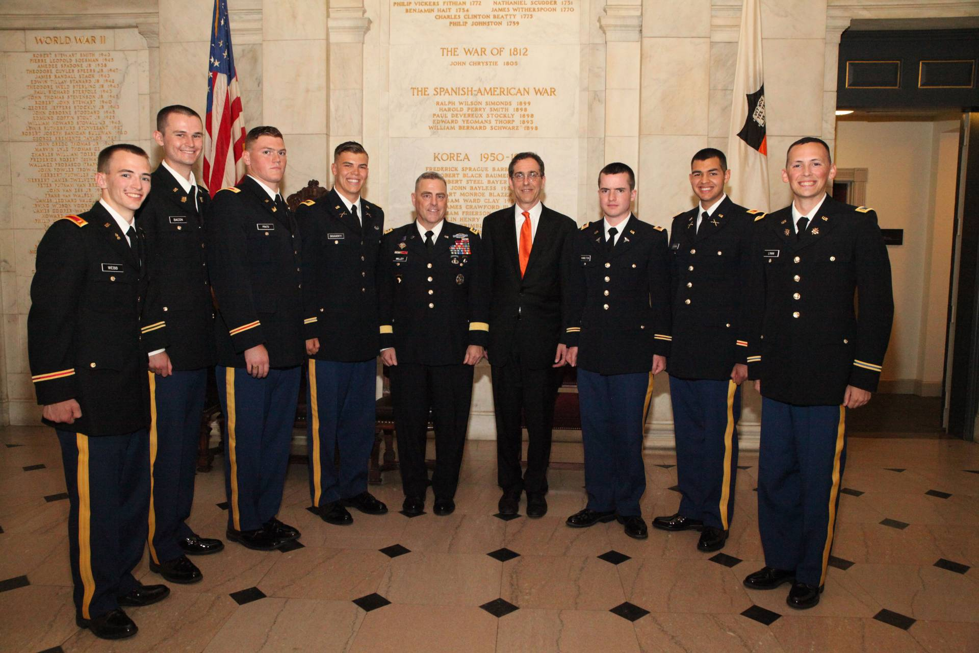 Cadets with President Eisgruber and General Milley in Nassau Hall vestibule