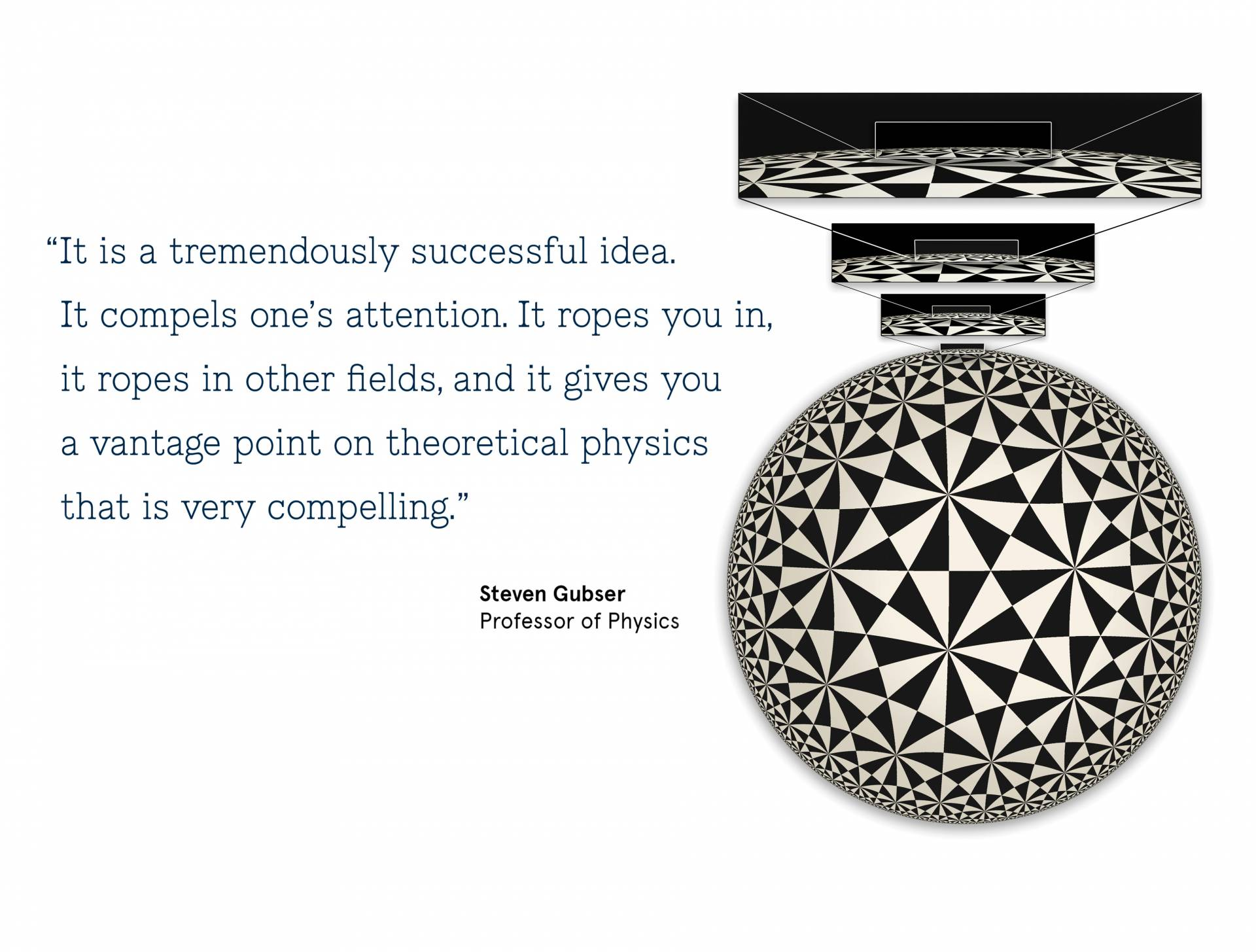 "Conceptual art with a quote from Steven Gubser, Professor of Physics: ""It is a tremendously successful idea. It compels one's attention. It ropes you in,  	it ropes in other fields, and it gives you a vantage point on theoretical physics that is very compelling."""