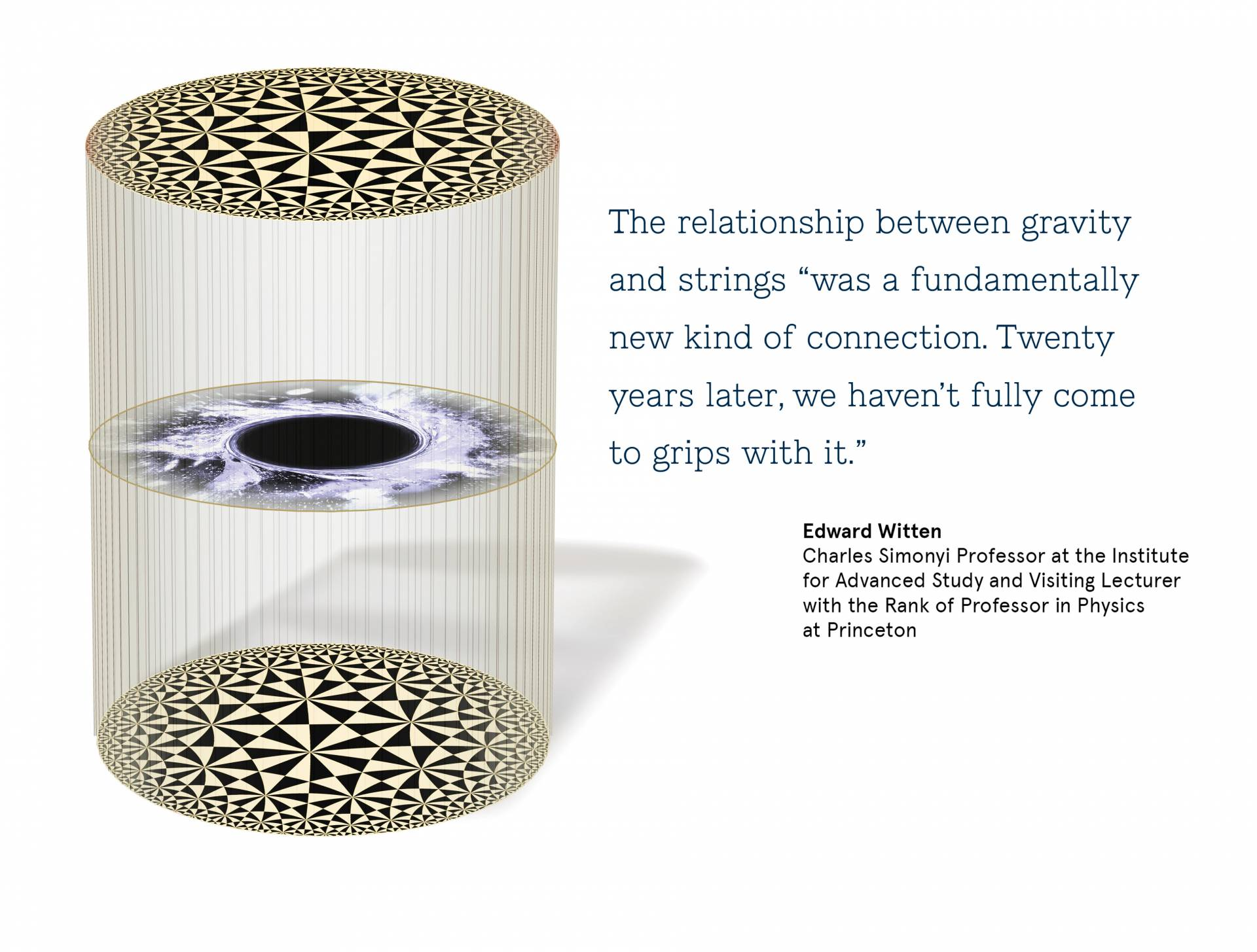"Conceptual art with a quote from Edward Witten, the Charles Simonyi Professor at the Institute for Advanced Study and Visiting Lecturer with the Rank of Professor in Physics at Princeton: ""The relationship between gravity and strings ""was a  fundamentally new kind of connection. Twenty years  later, we haven't fully come to grips with it."""