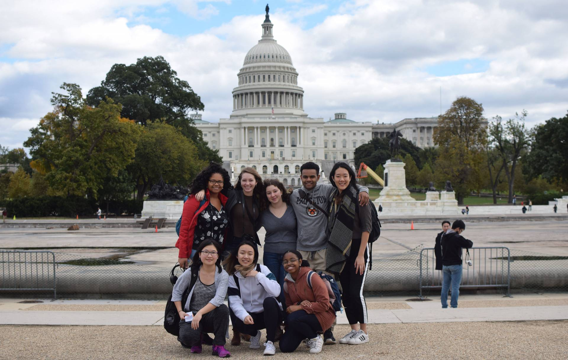 Students posing in front of Capitol building in DC