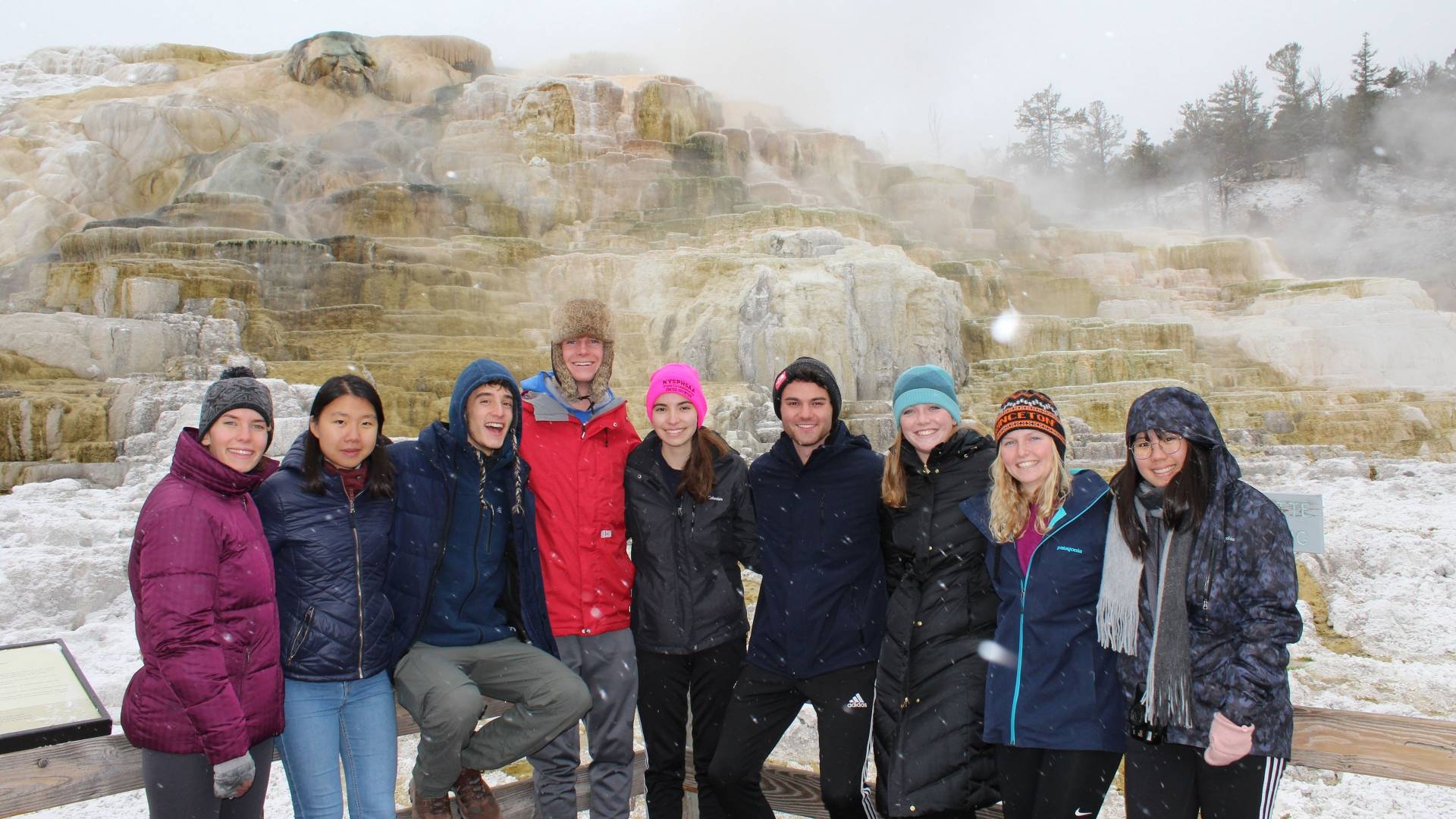 Students at Mammoth Hot Springs