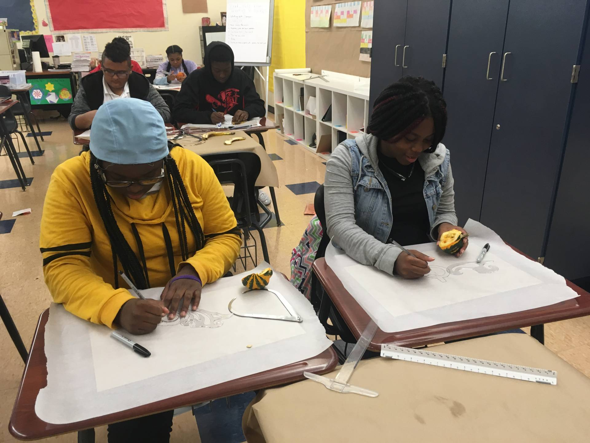Students doing drawing exercises in class at Trenton Central High School