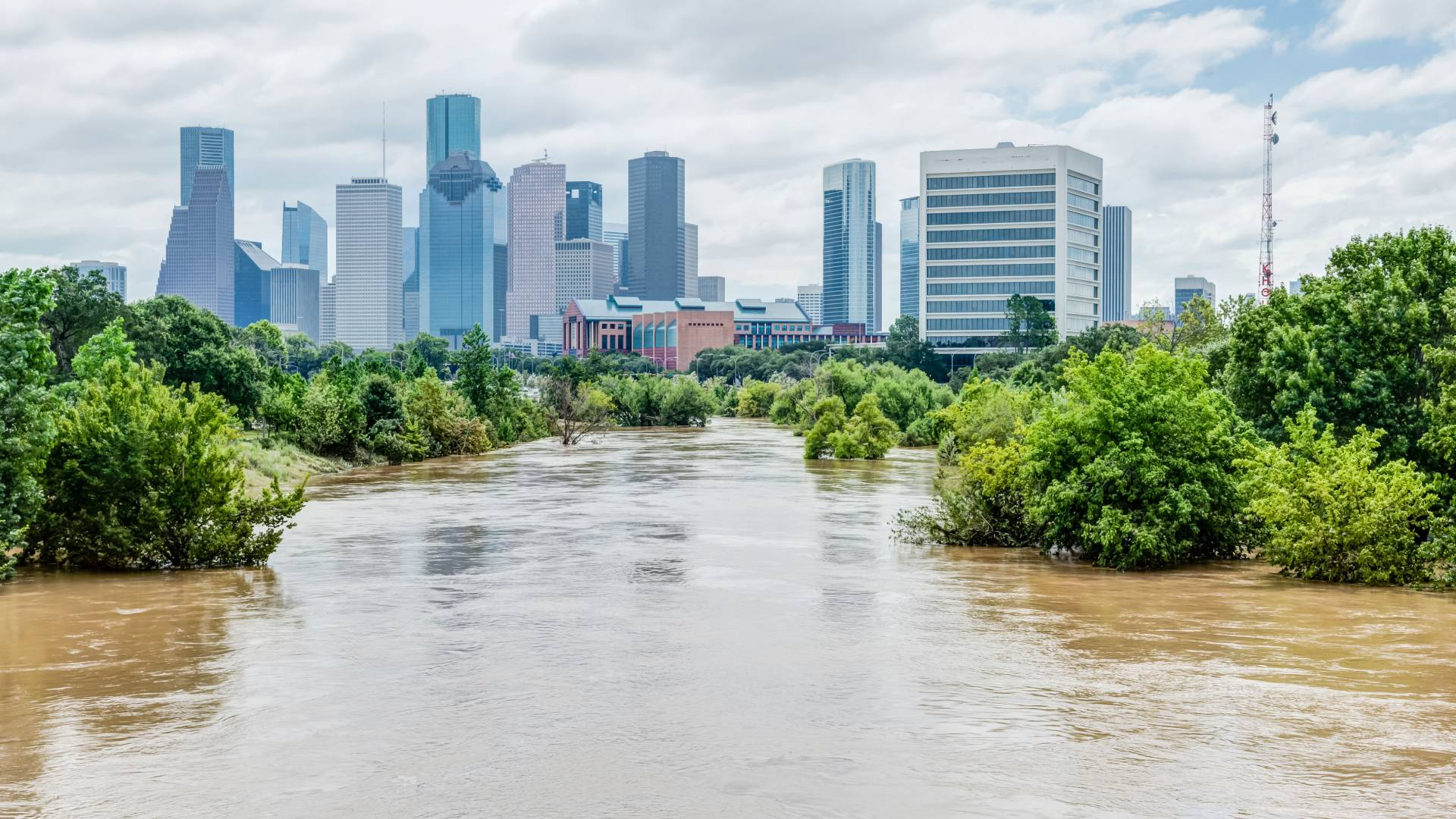Flooding from Hurrican Harvey with buildings of Houston in the background
