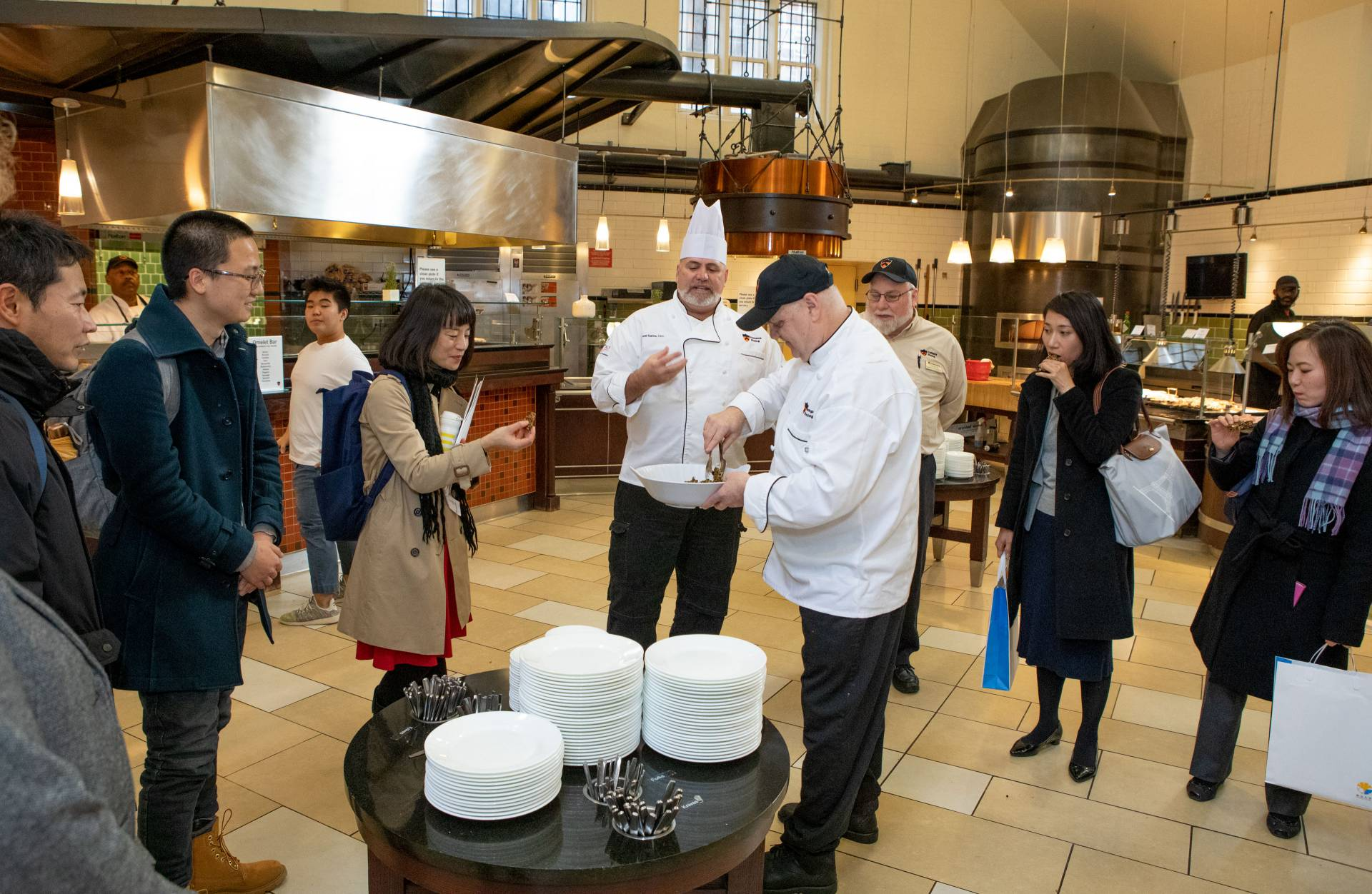 University of Tokyo delegates touring dining hall