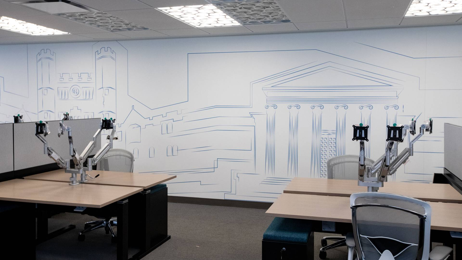Office space with drawing of Blair Arch and Whig Clio on wall