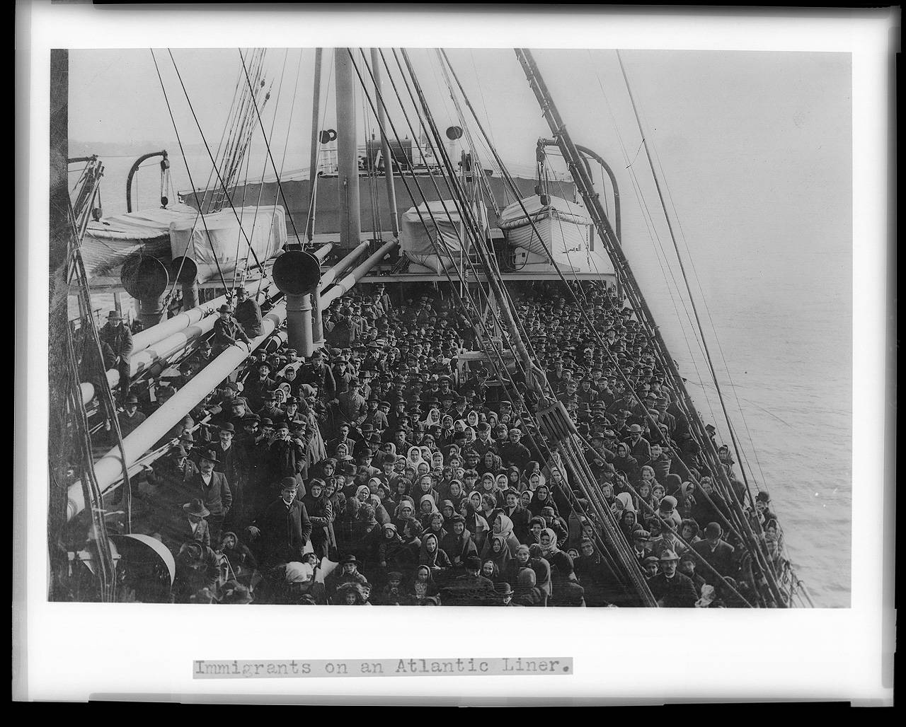 Crowds on 19th century immigrant ships