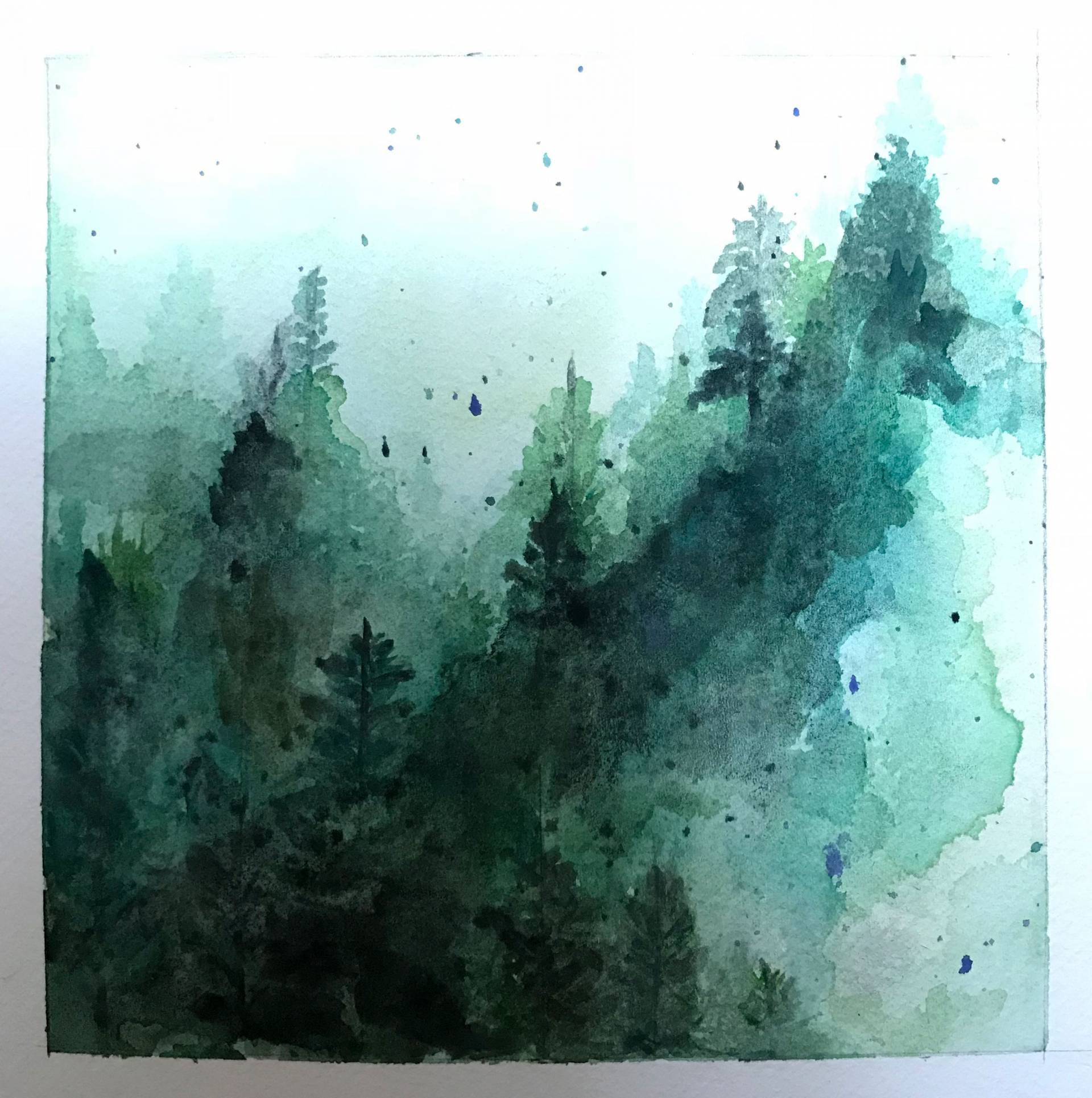 Watercolor painting of trees