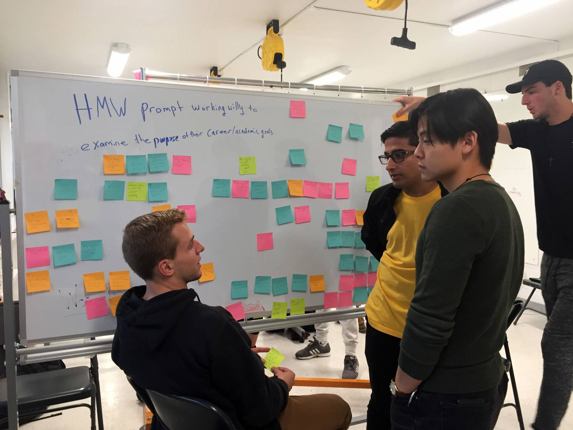 A team of students stands in front of a whiteboard covered in post-it notes