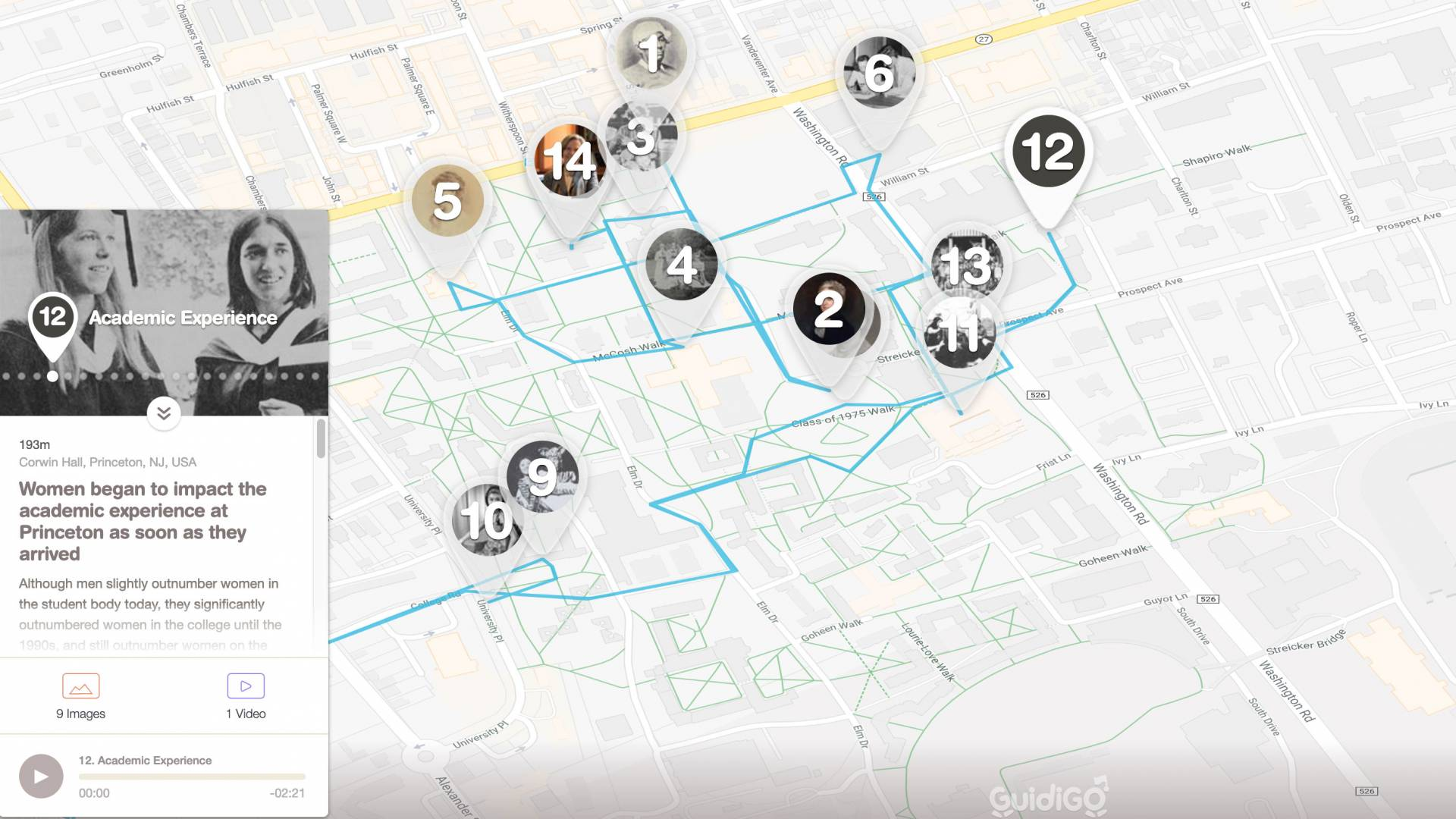 Screenshot of Academic Experience stop on walking tour map