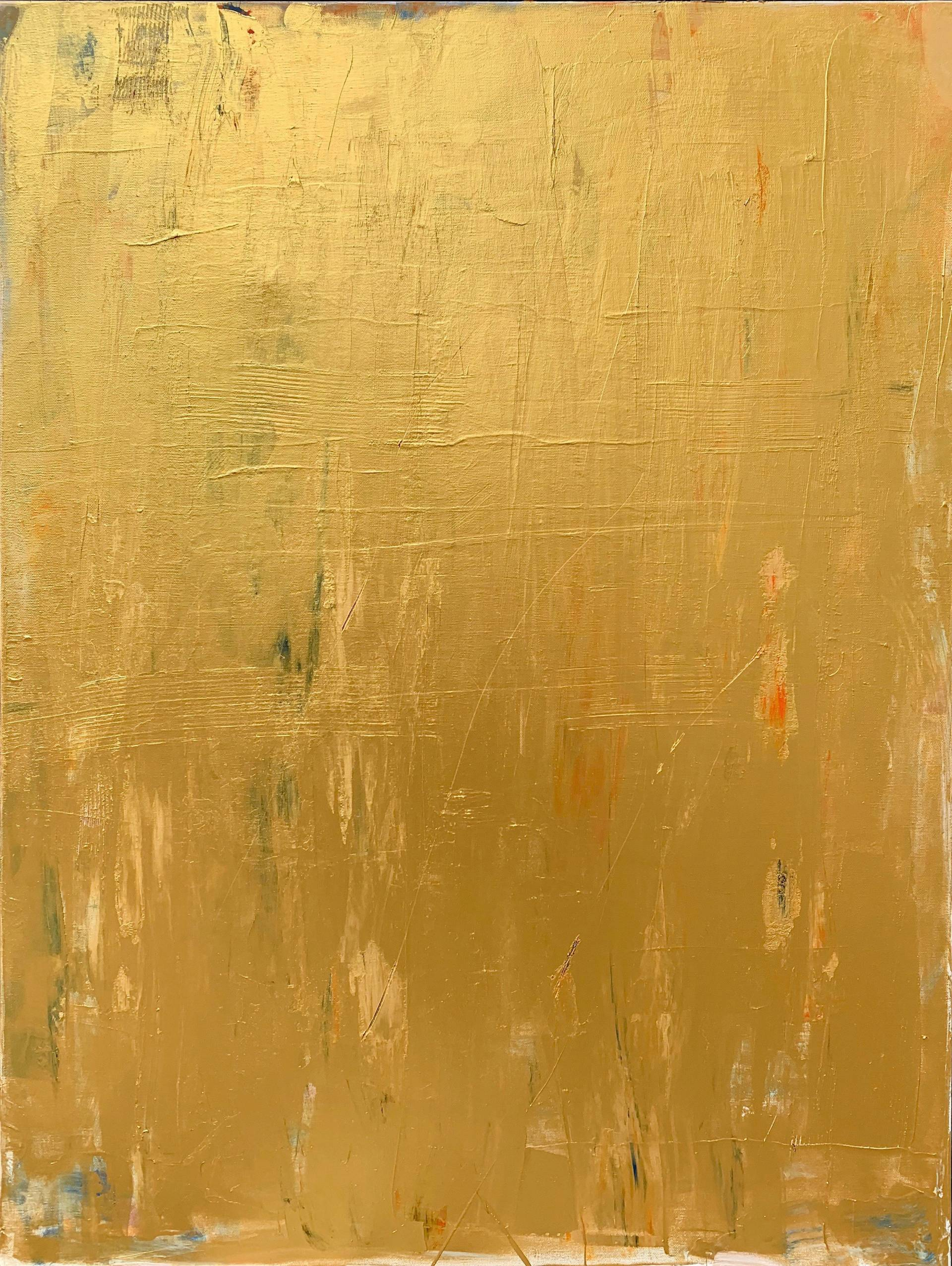 Abstract painting in gold acrylic