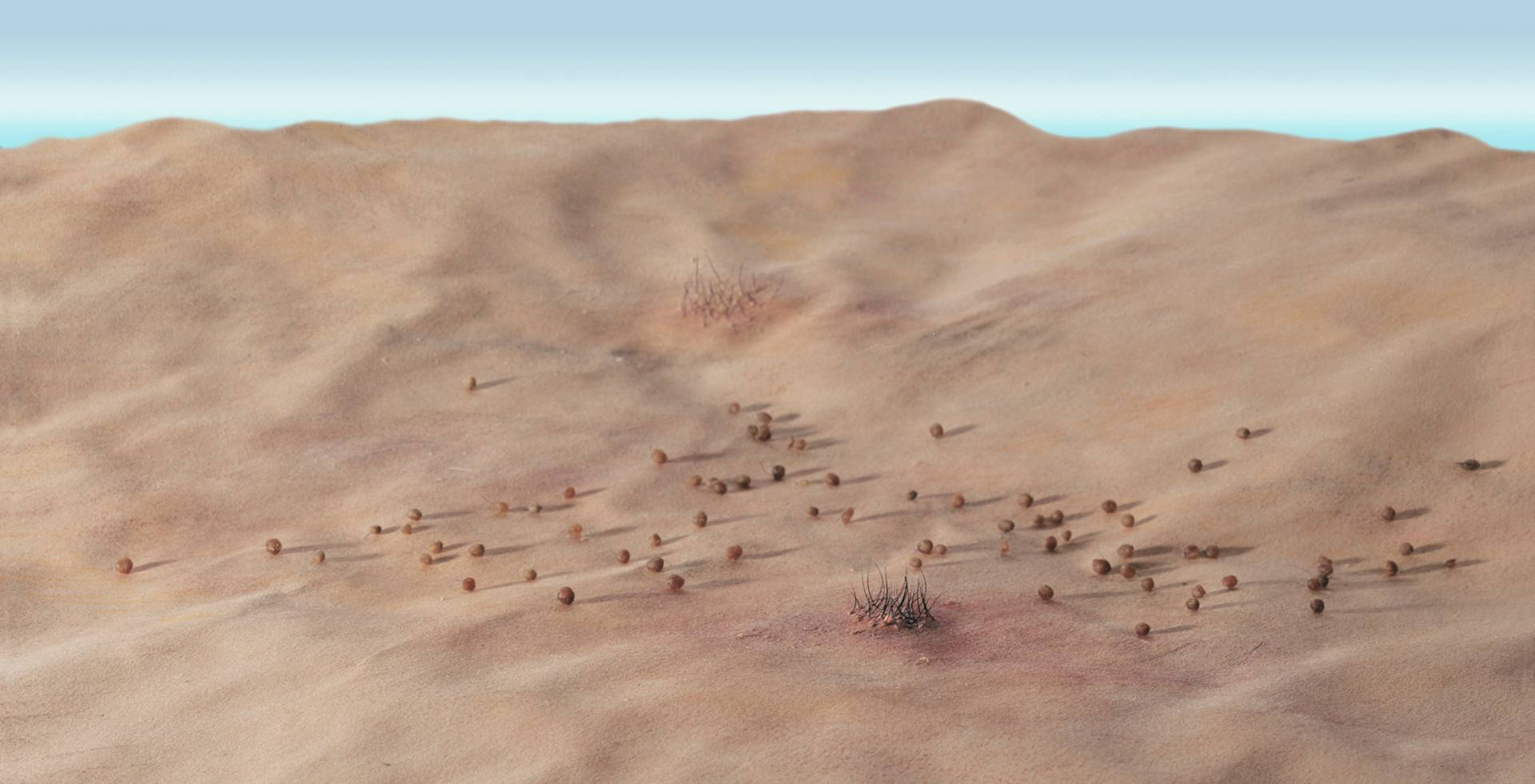 Desert hills with small spheres