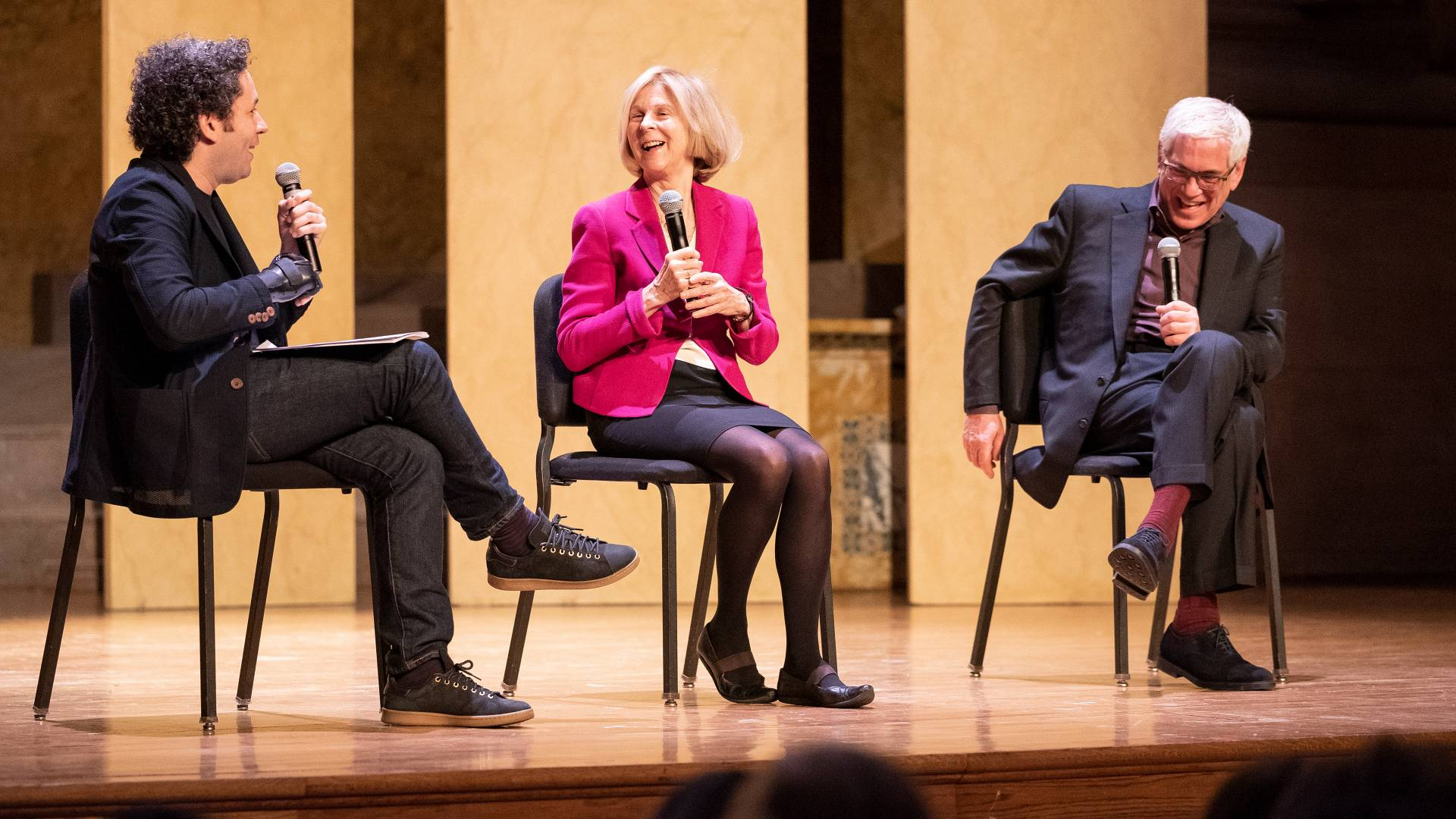 Gustavo Dudamel, Elaine Pagels and Alexander Nehamas sitting on stage